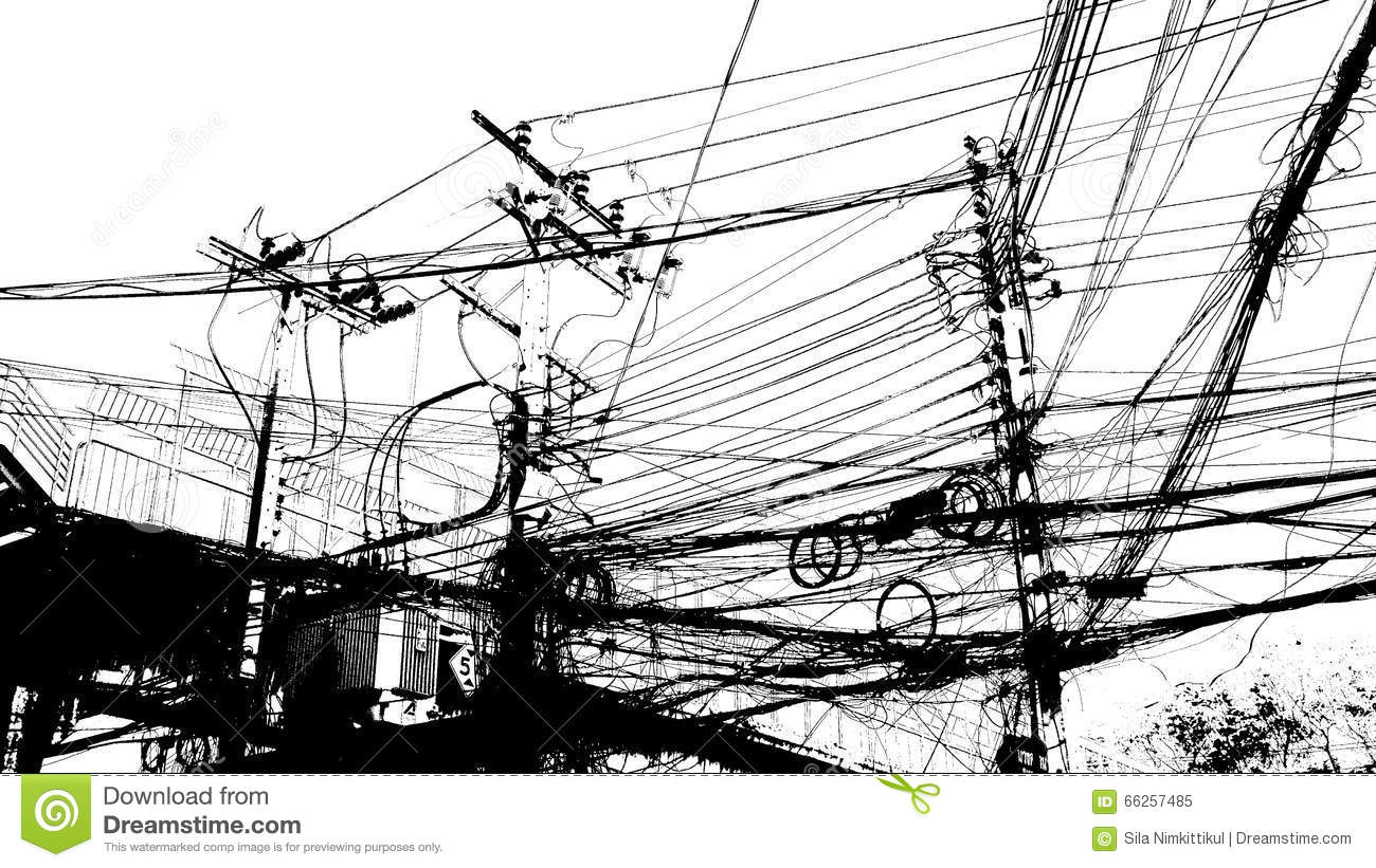 Electronic And Cable Line Baffling Graphic Stock Image - Image of ...