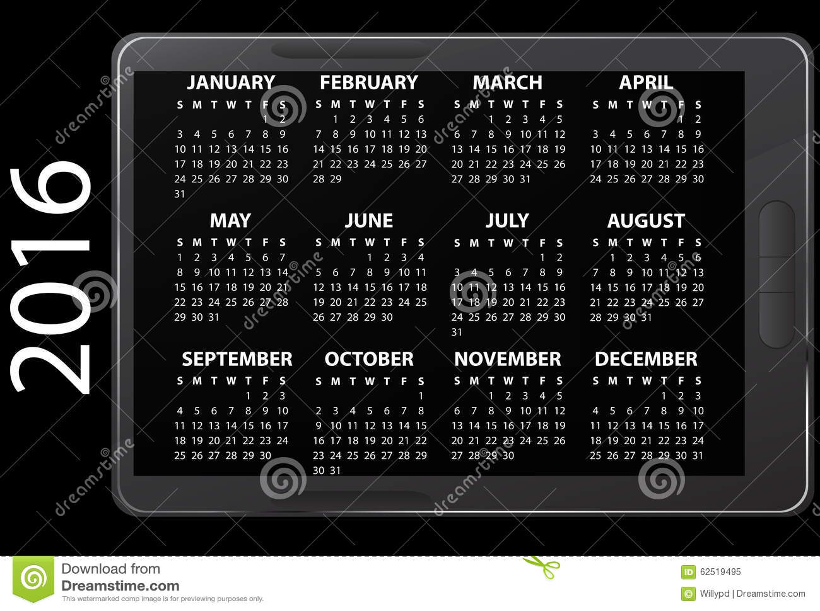 Electronic Calendar Planner : Electronic calendar stock image of planning