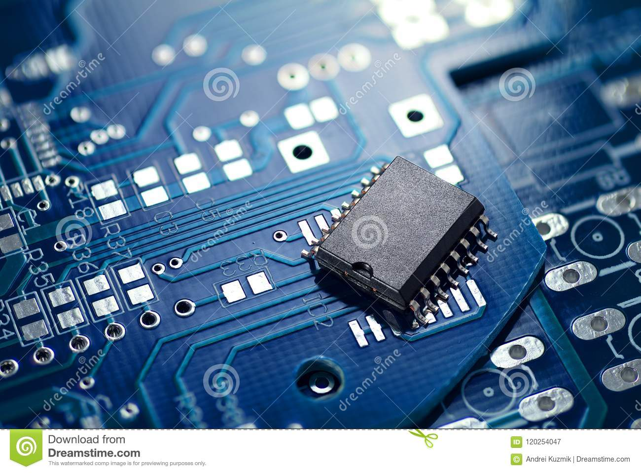 Printed Circuit Board And Chip Stock Image Of Component