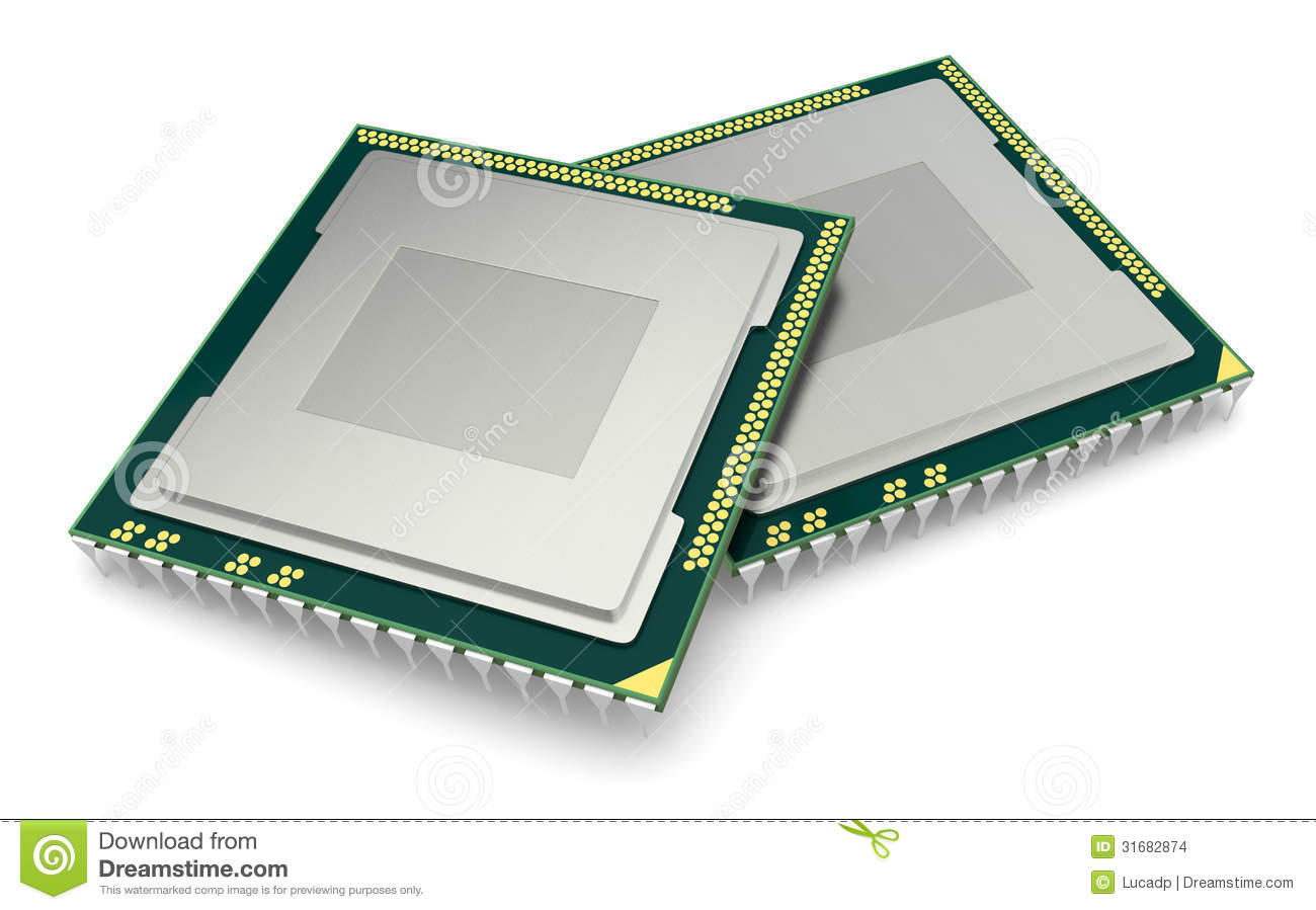 Two cpu or gpu for computers and other electronics devices (3d render ...
