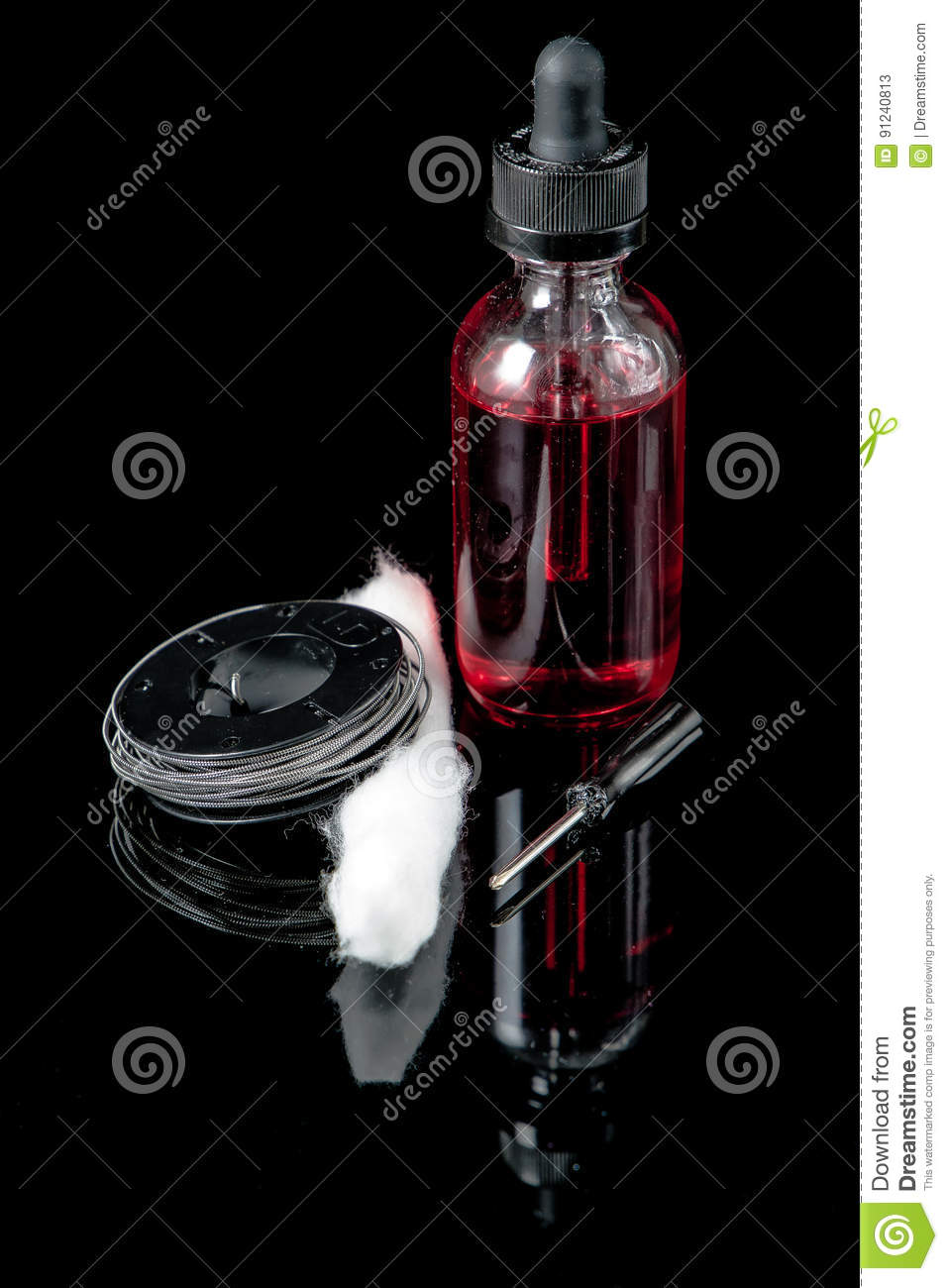Download Electronic Cigarette Juice With Cotton Wick,screwdriver And Coil Stock Illustration - Illustration of device, isolated: 91240813