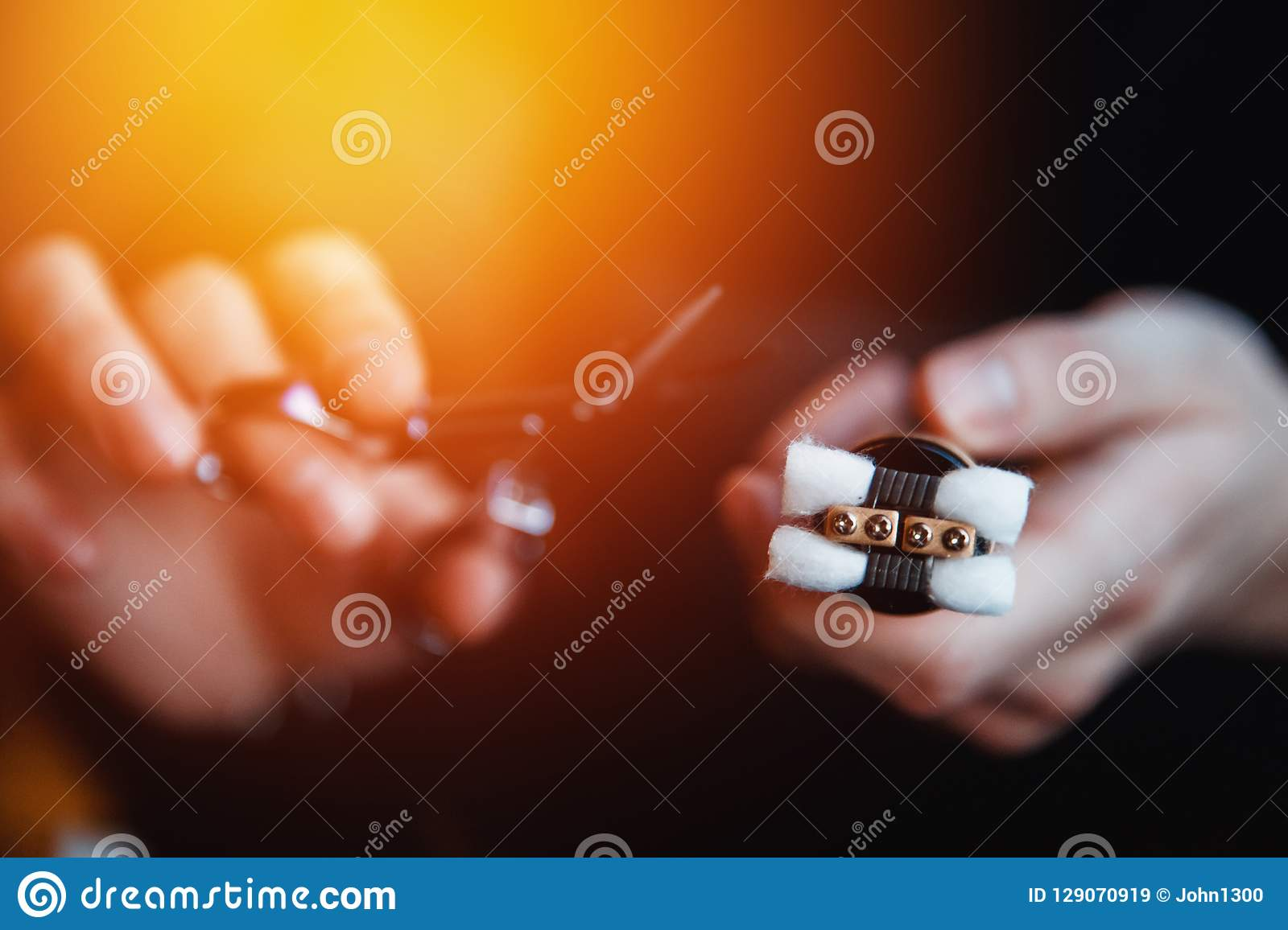 Electronic Cigarette For Vape Stock Image - Image of liquid, juice