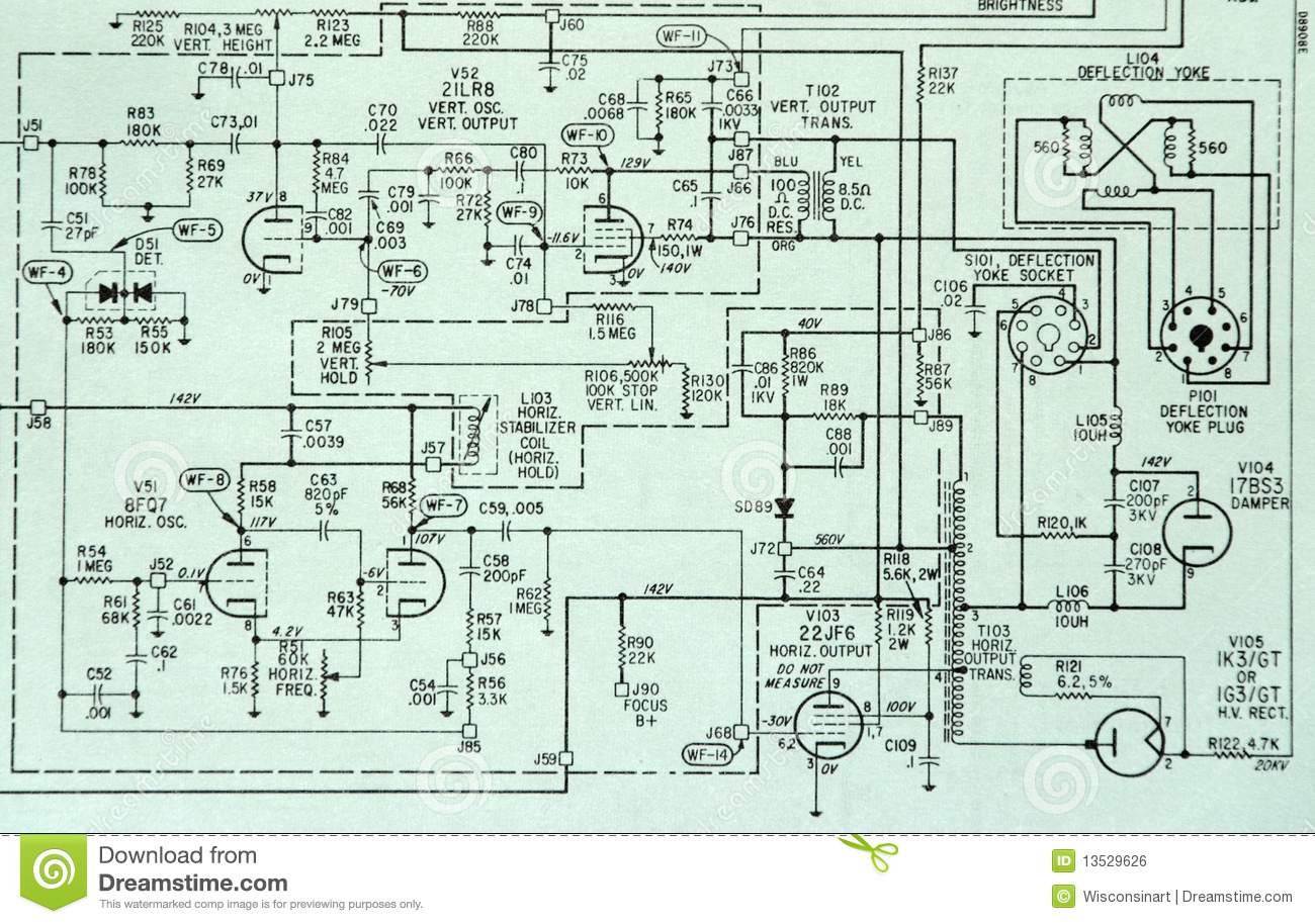Image of an electronic circuit schematic diagram. Circuitry shown is a ...