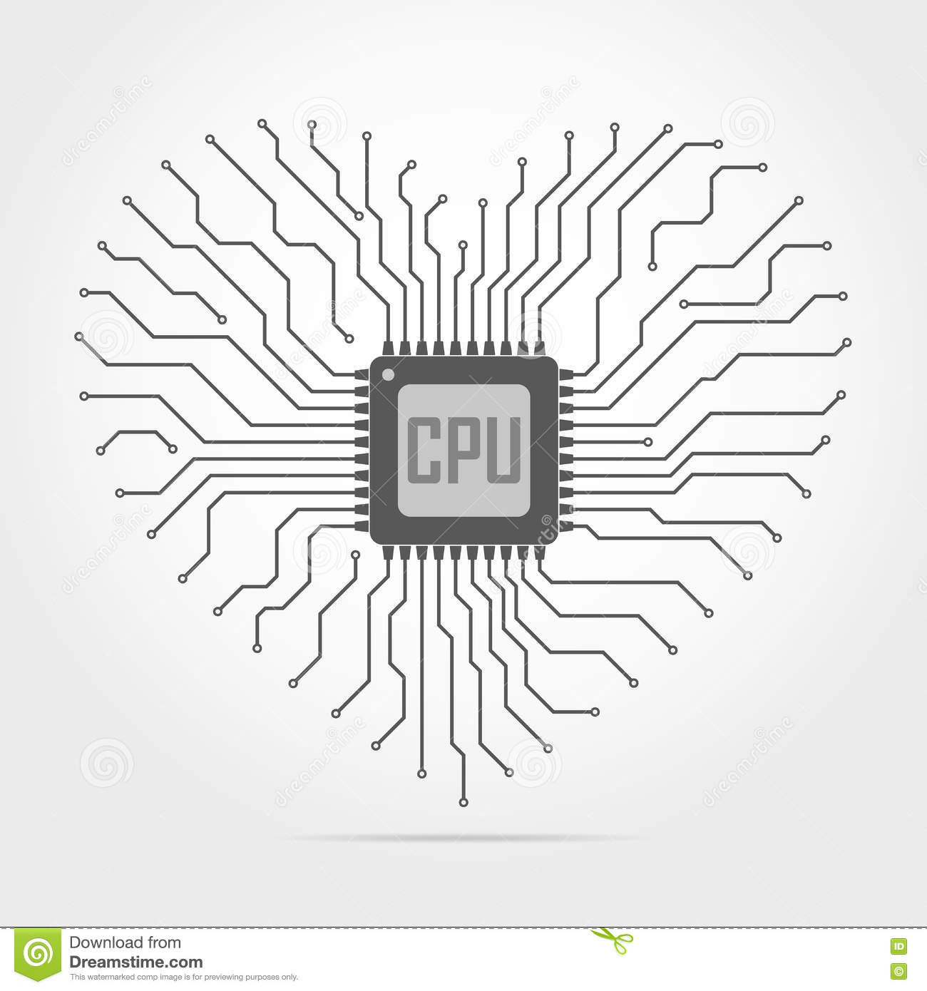 Circuito And : Electronic circuit board with chip in shape of heart. vector