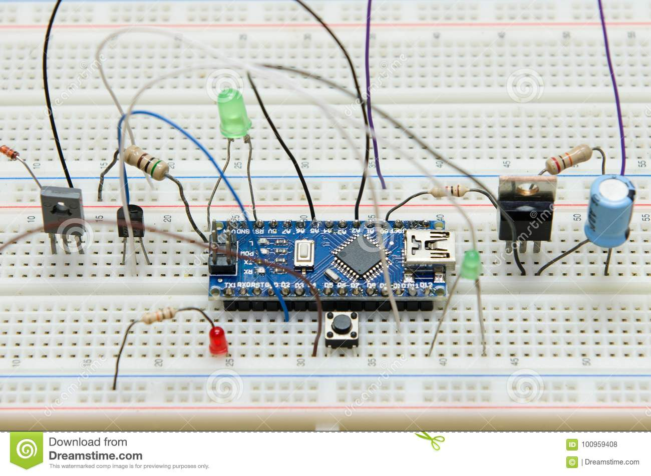 Electronic Circuit Board Diy Microcontroller With Resister