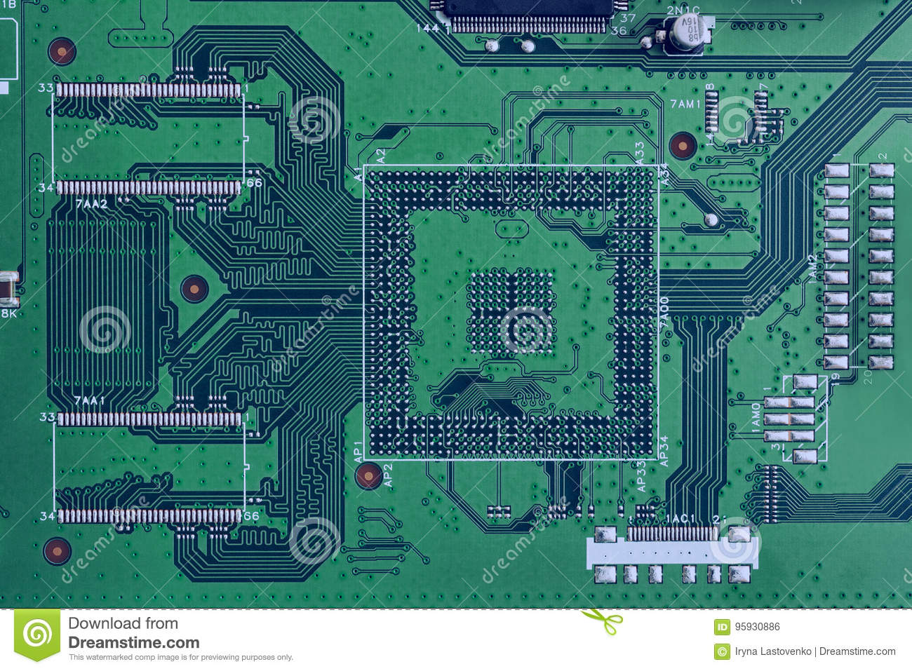 Electronic Circuit Board Green Color Close Up Stock Photo Image Computer With Electronics Components And