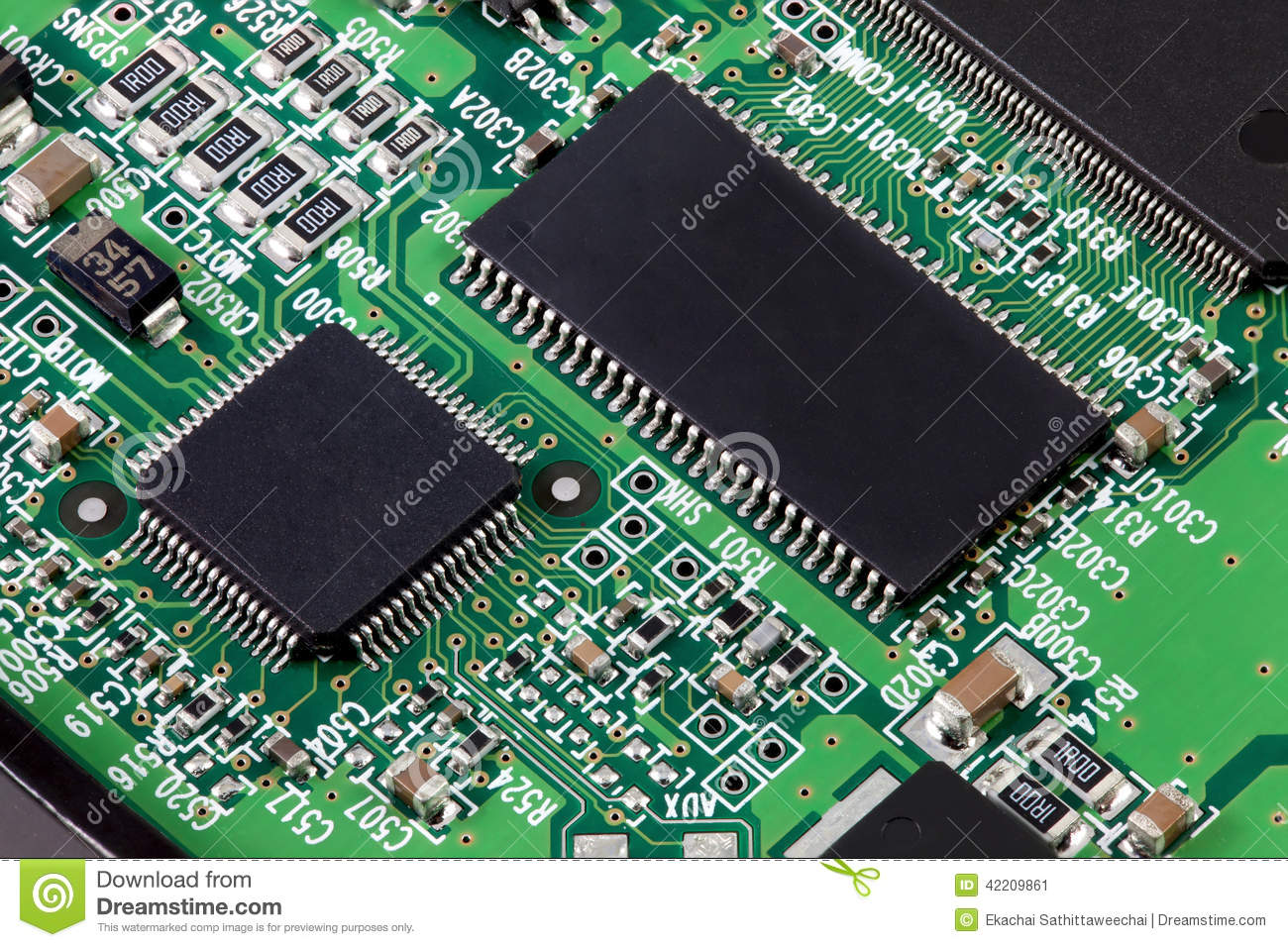 Electronic Circuit Board With Many Component Parts Stock Image