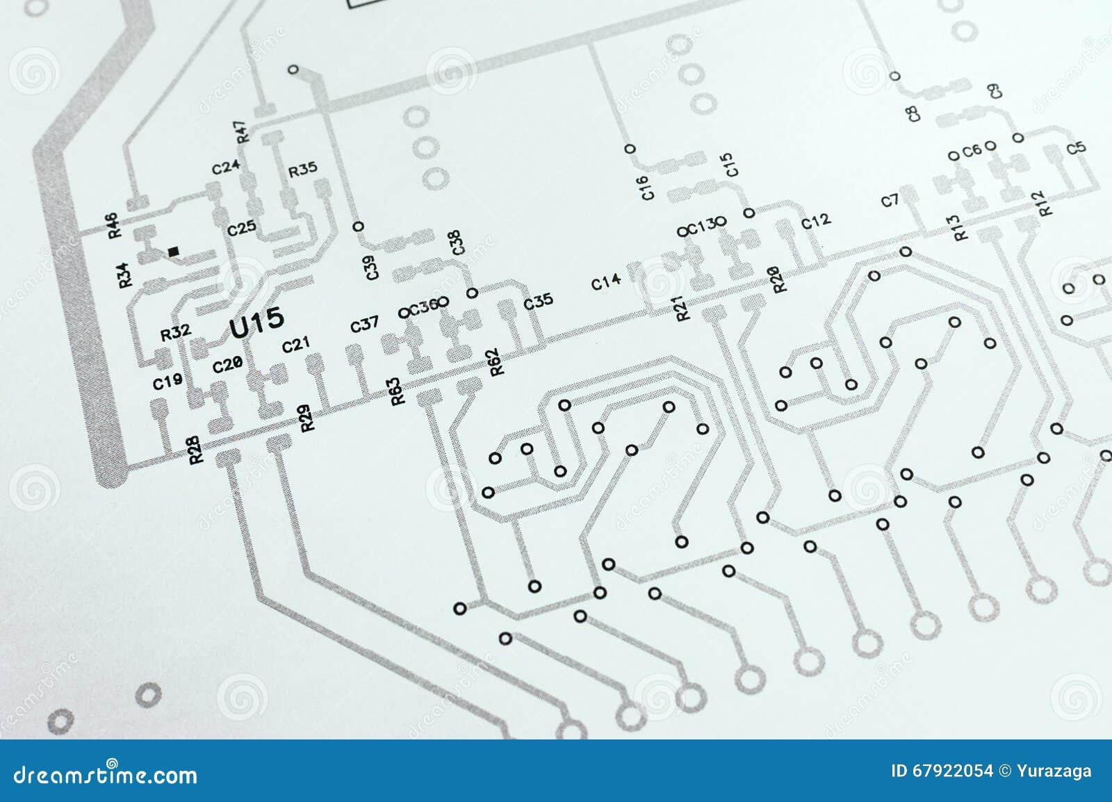 Electronic Circuit Board Schematic Stock Illustration - Illustration ...