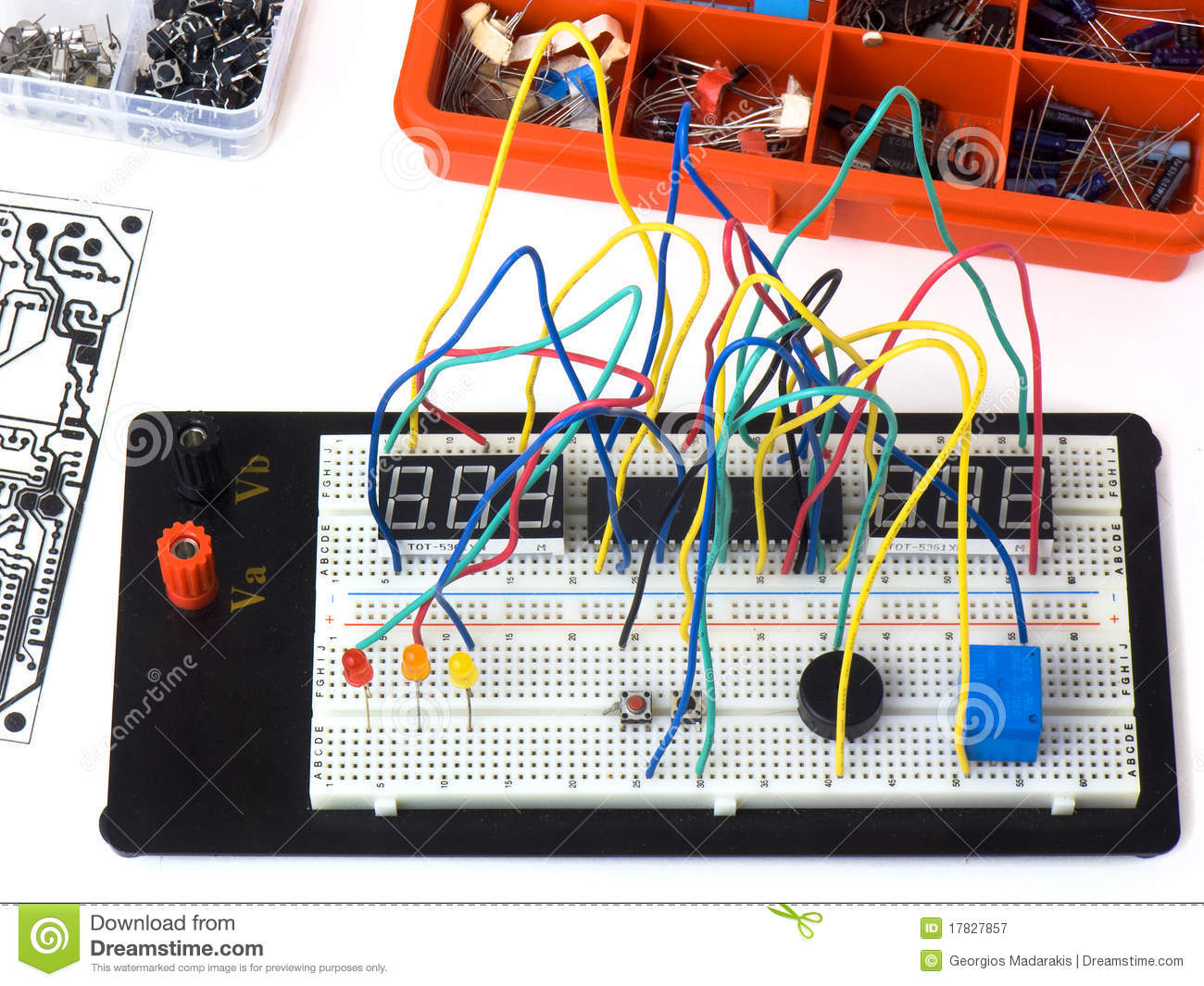 Electronic Circuit On A Breadboard  Raster  Diy Stock