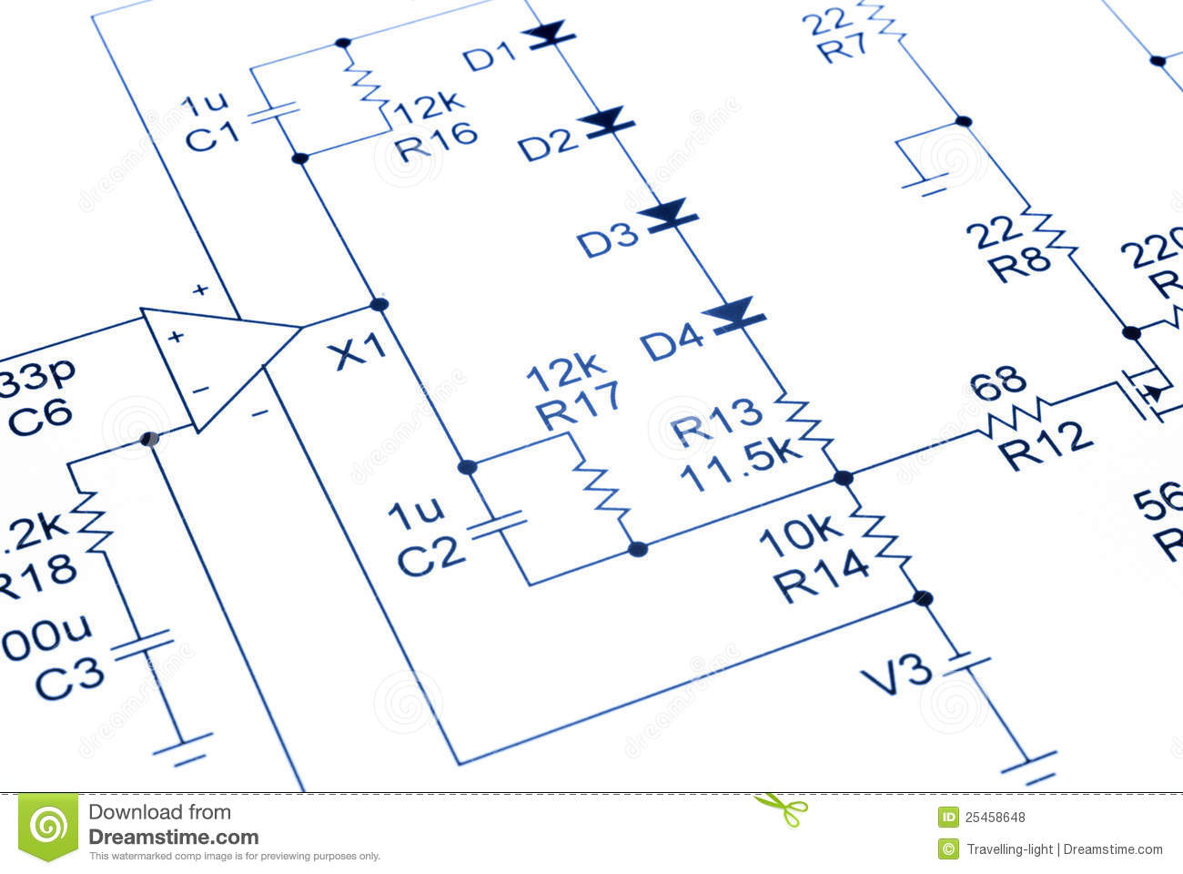 Electronic Circuit Diagram Audio Stock Photo Image Of Blue Basic Electrical Design