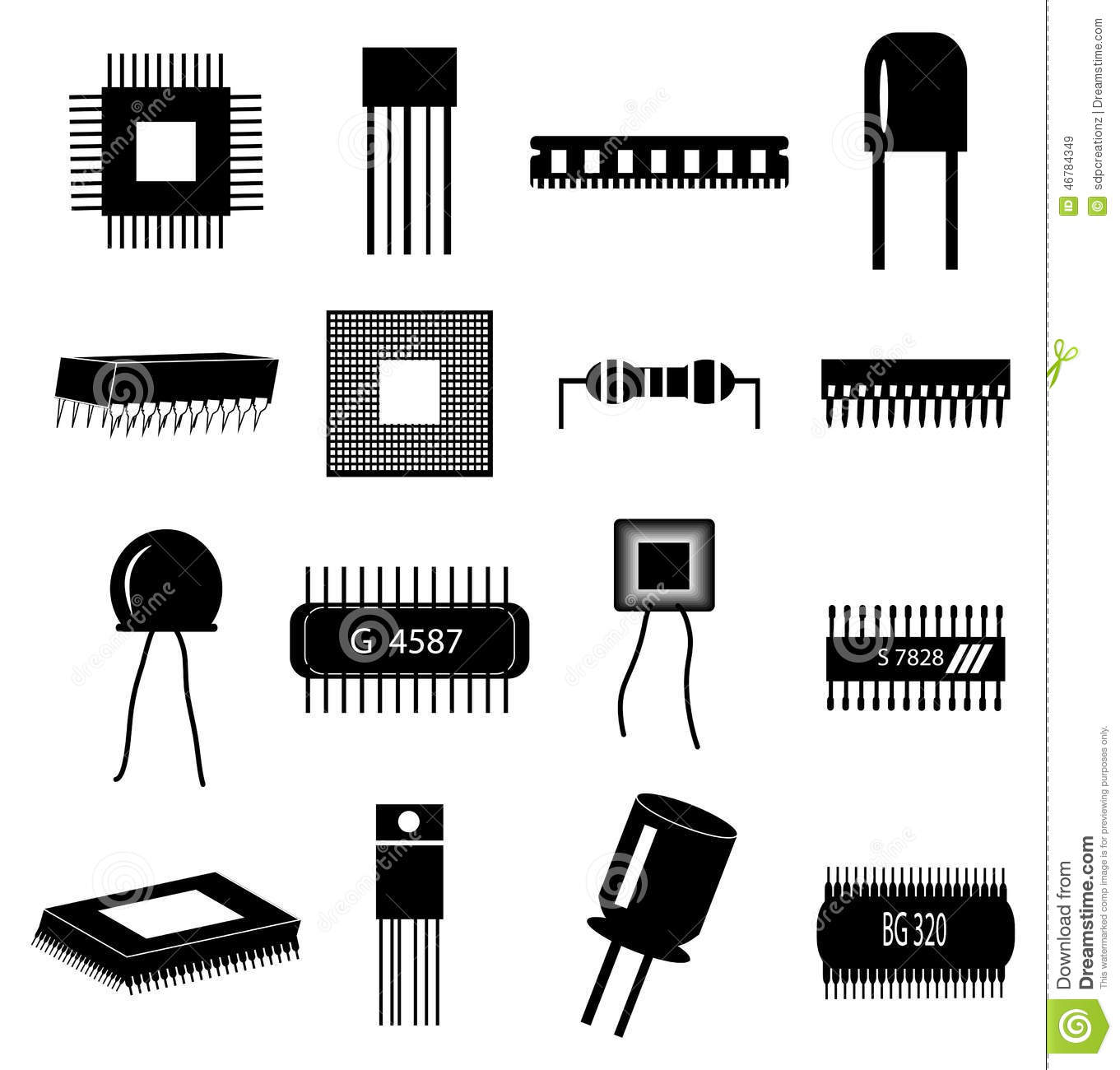 Computer circuit icons set stock vector. Illustration of ...
