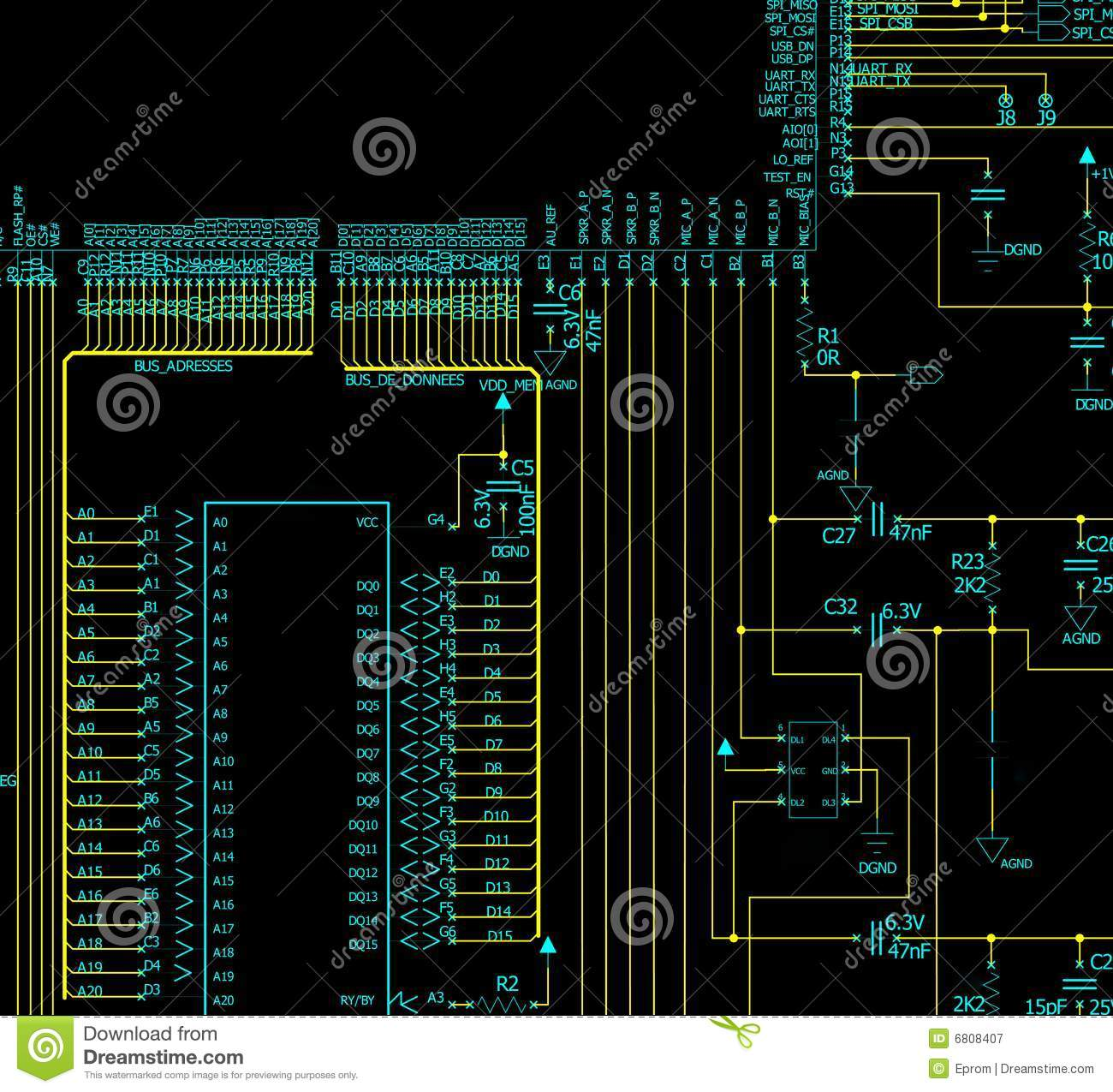 Electronic Circuit Schematic Stock Illustration Of Schematics Download 6808407