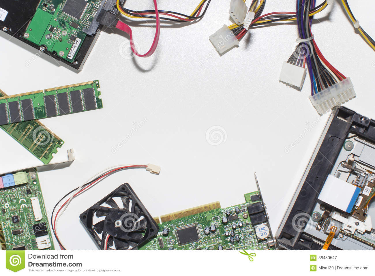 Electronic Circuitry On A White Background Top View Stock Image Circuits Explained