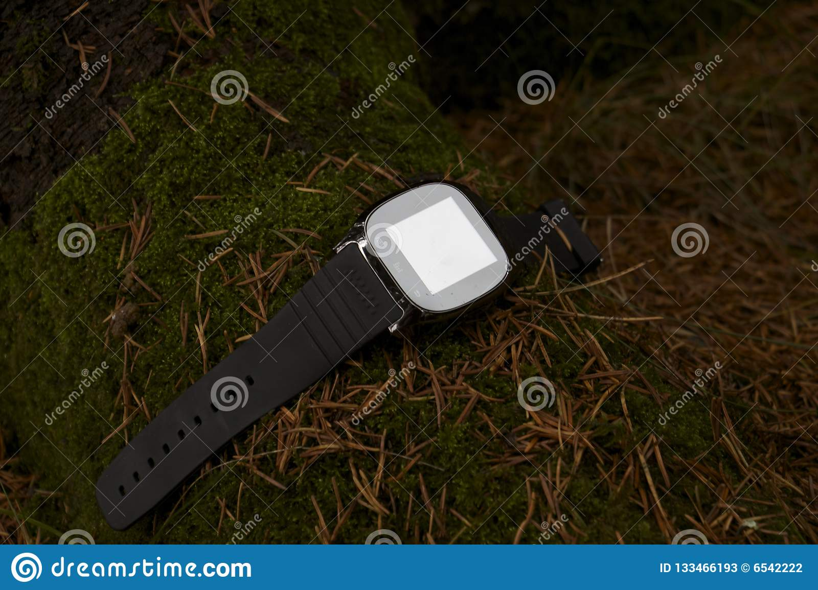 Electronic clock outdoors, gadgets on earth