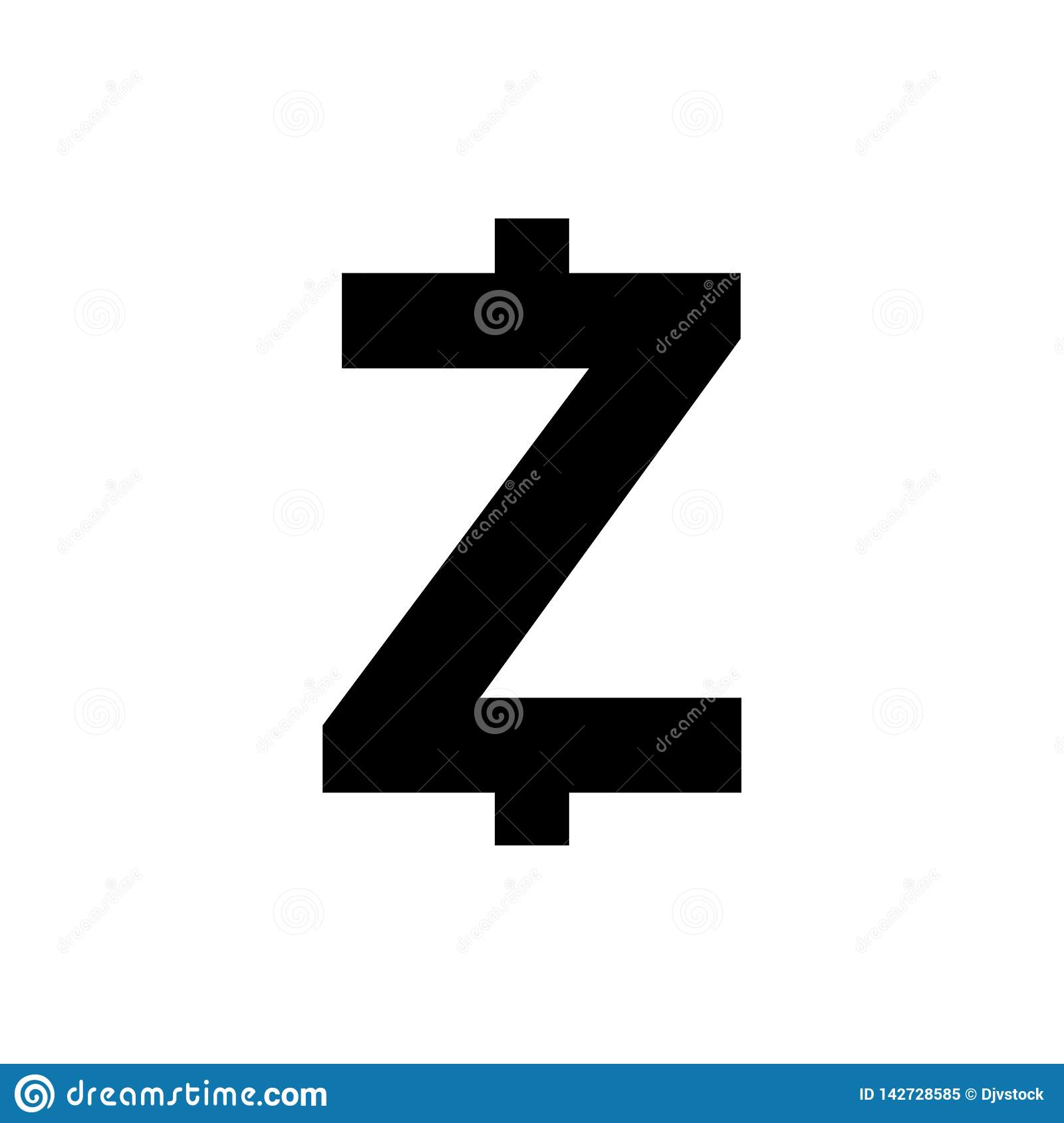 Electronic commerce with zcash symbol. Vector illustration design royalty free stock photo