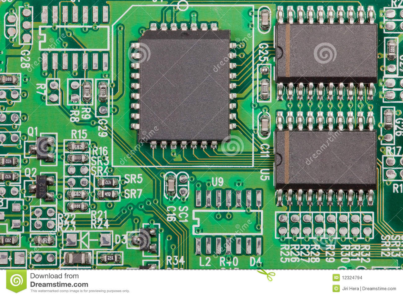 Electronic component on electrical circuit