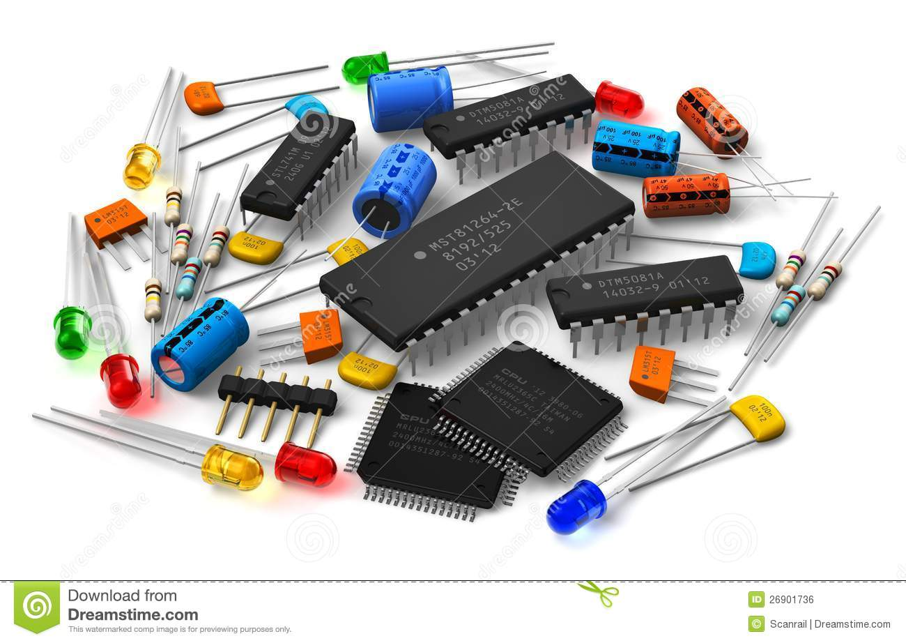 Electronic components stock illustration  Illustration of