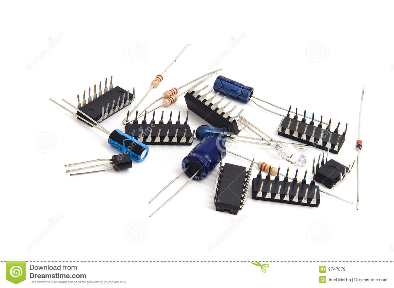 Isolated electronic parts. Resistors, capacitors, circuits, diodes and ...