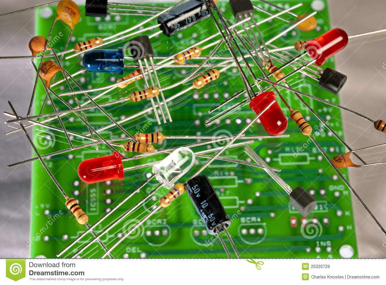 electronic components and circuit board royalty free stock