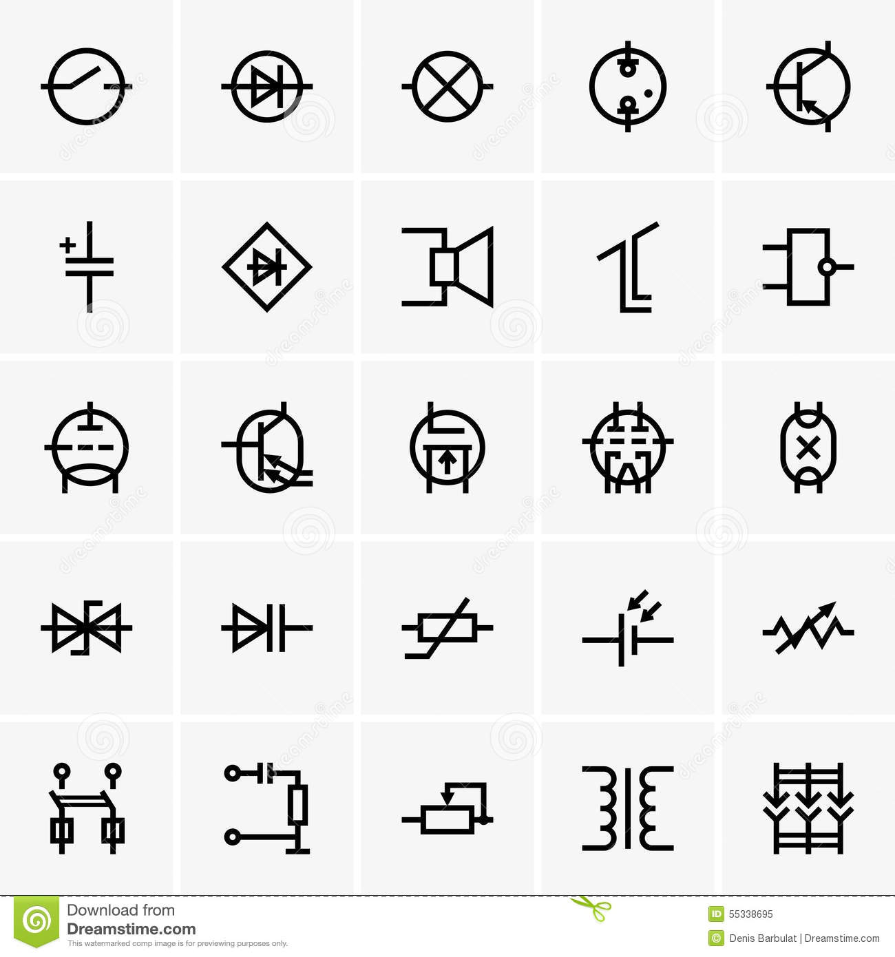 electronic components icons stock vector