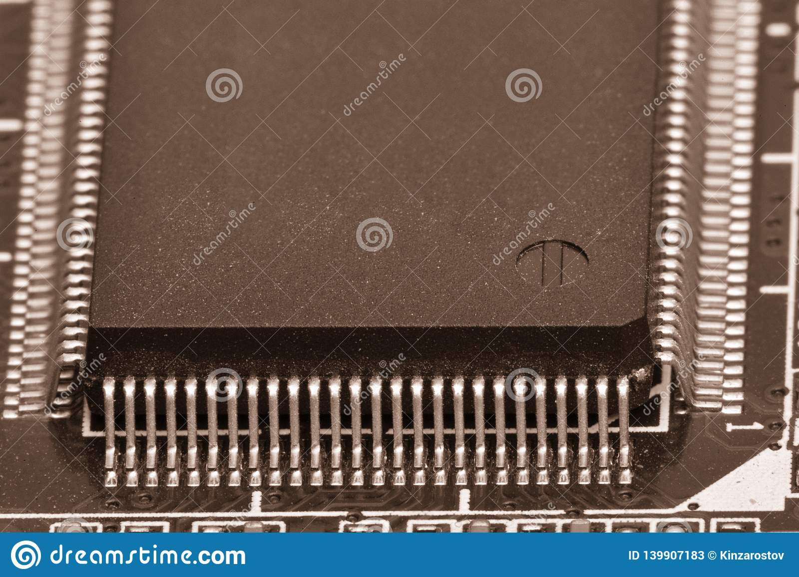 Electronic components are mounted on the device board Toned image
