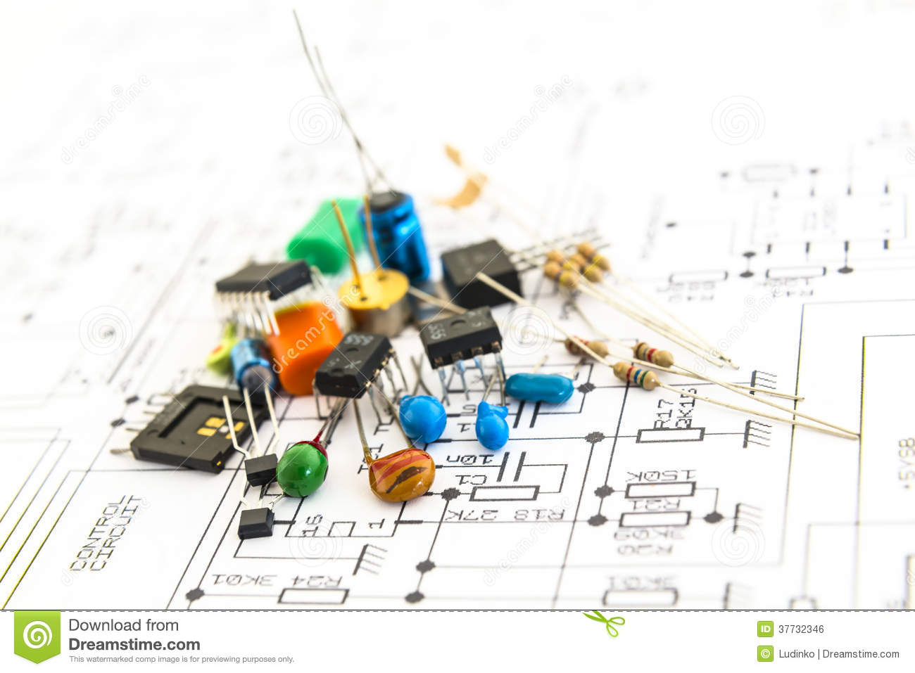 Outstanding Electronic Components On A Schematic Diagram Background Stock Photo Wiring 101 Orsalhahutechinfo