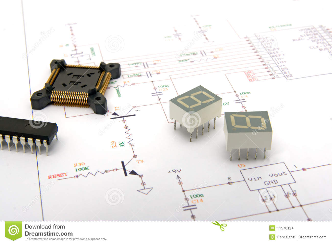 electronic components on schematics stock photo image of rh dreamstime com Round LED Lights Circuit Board Stacked Circular Circuit Boards