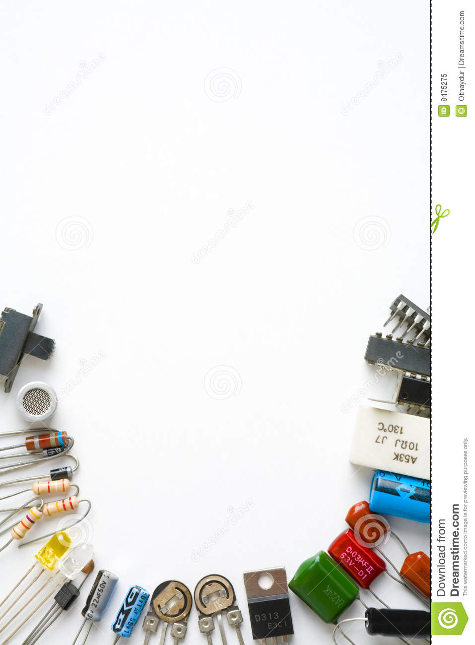 Electronic Components On White Background Stock Image