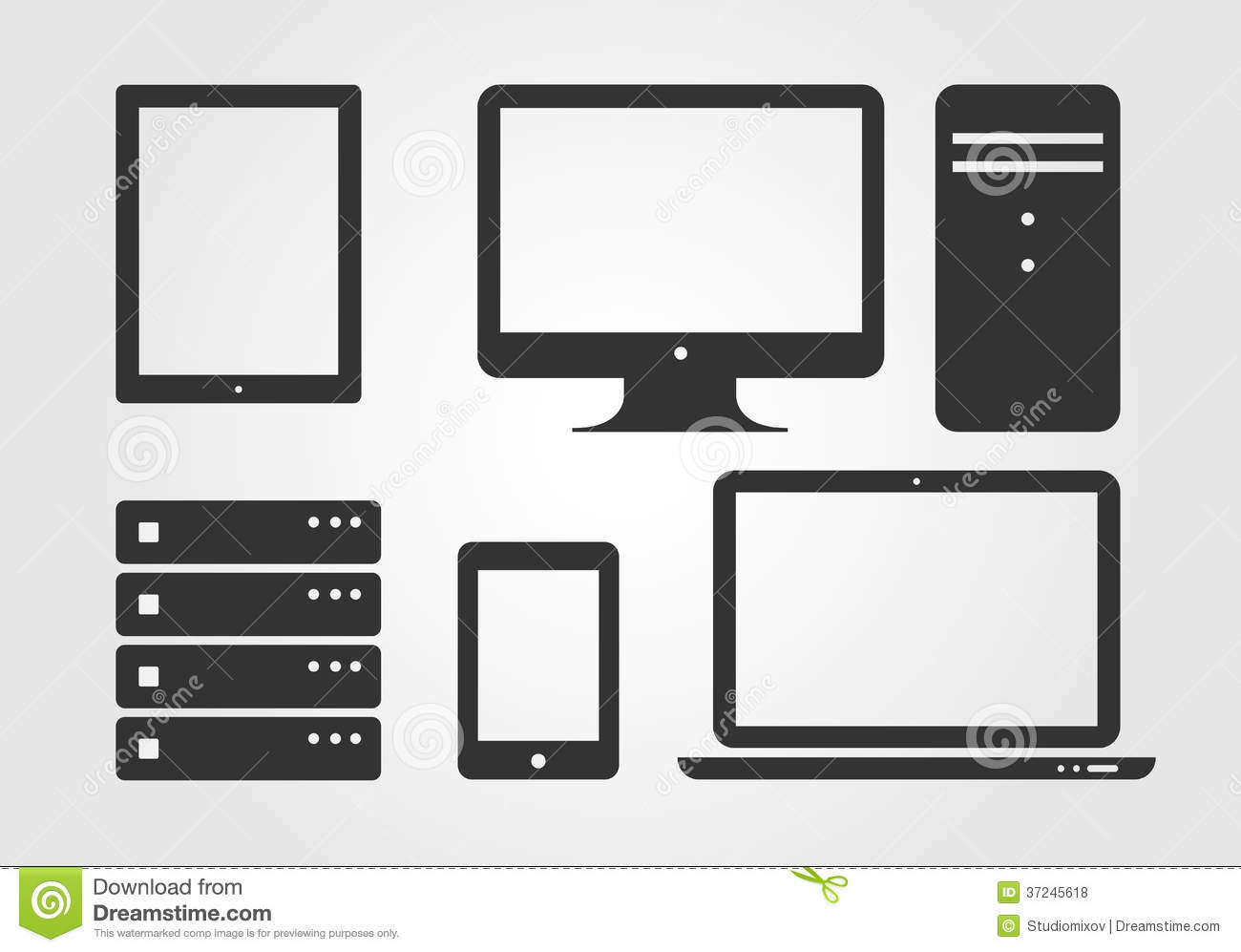 Electronic Device Icons, Flat Design Stock Vector