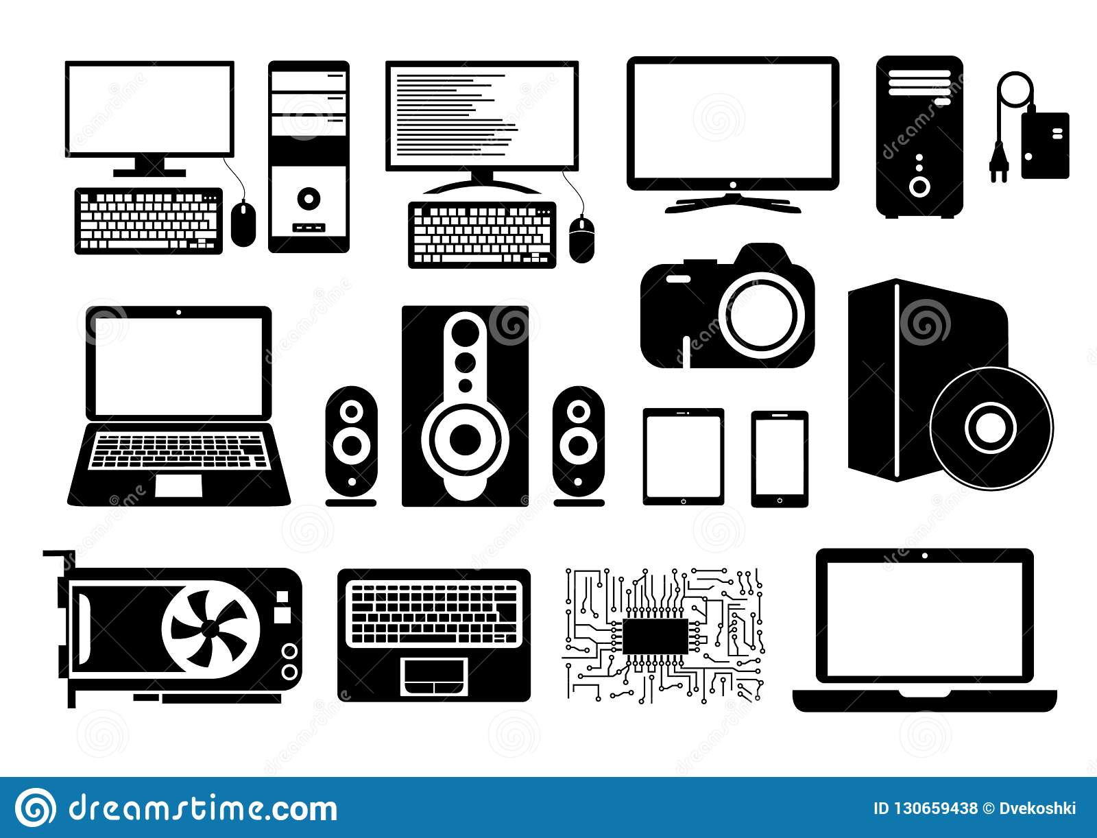 Electronic Device Icons For Web Sites, Applications For Smartphones