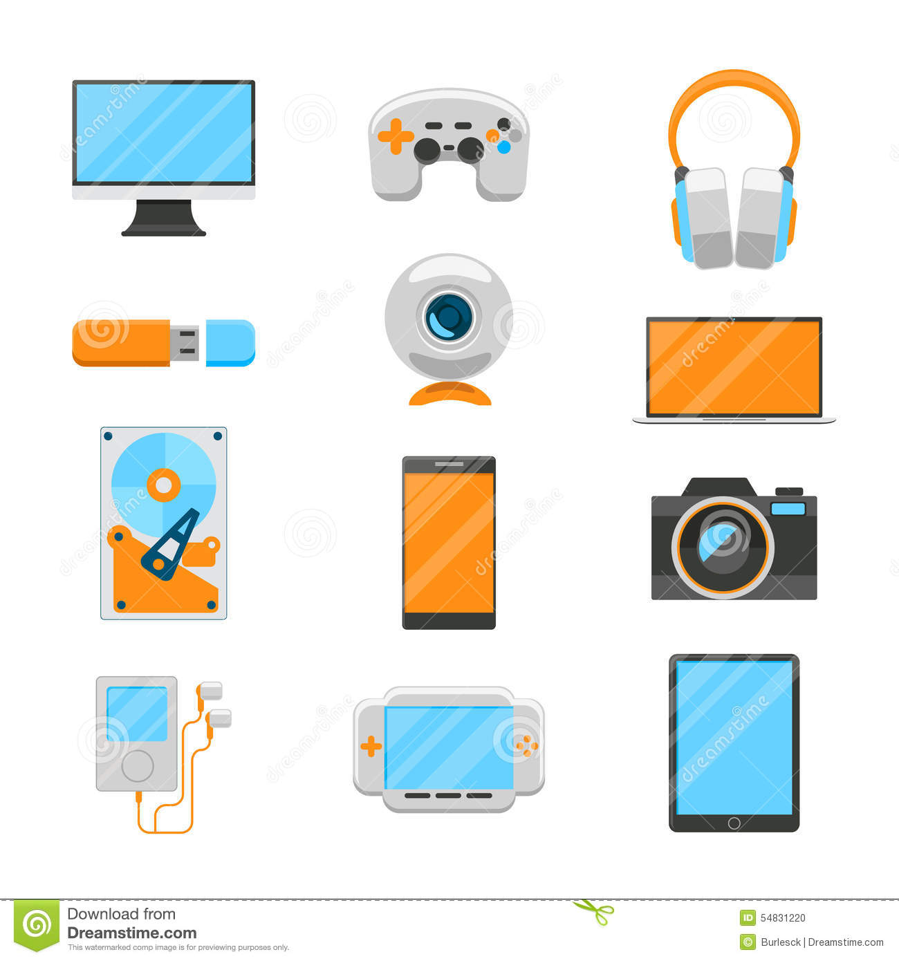 Electronic Timing Devices : Electronic media flat icons royalty free stock photo
