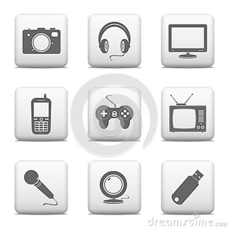 Electronic Timing Devices : Electronic devices icons vector illustration