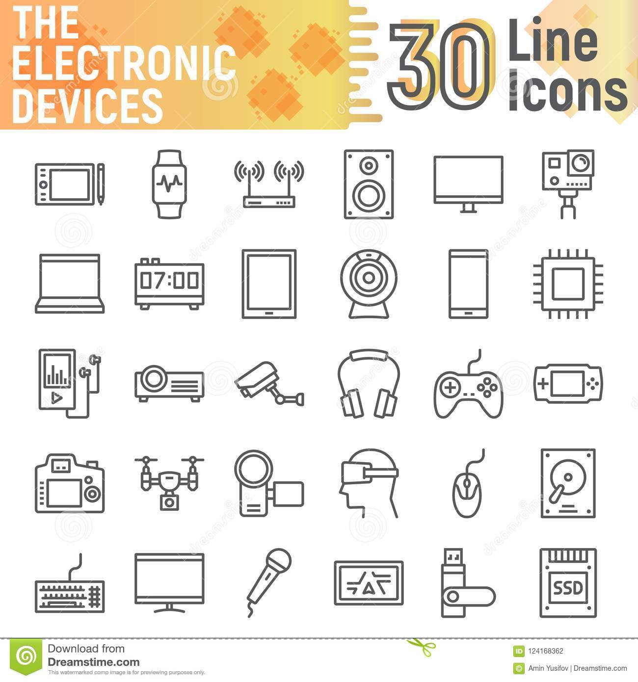 Electronic Devices Line Icon Set Media Symbols Stock Vector