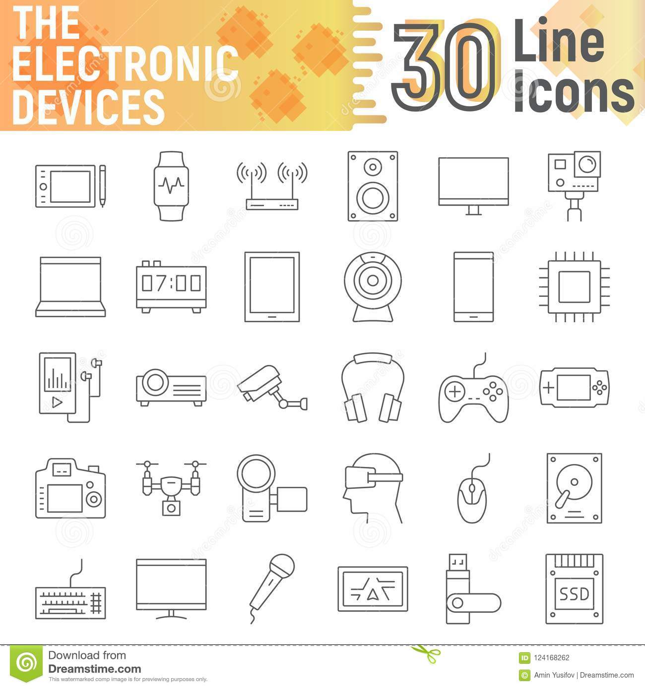 Electronic Devices Thin Line Icon Set Media Signs Stock Vector