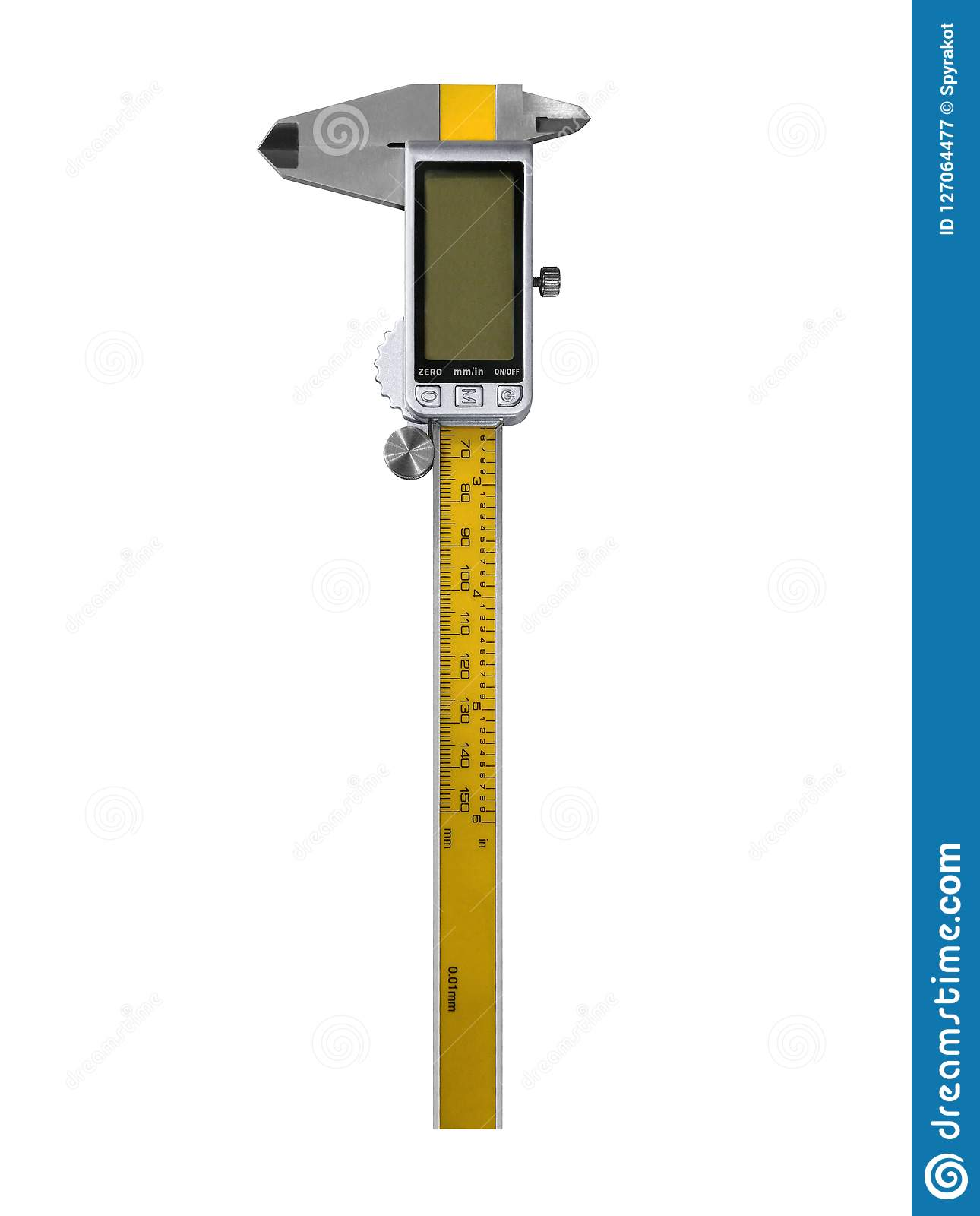Electronic digital caliper isolated on white. Digital caliper isolated on white background. European metric system