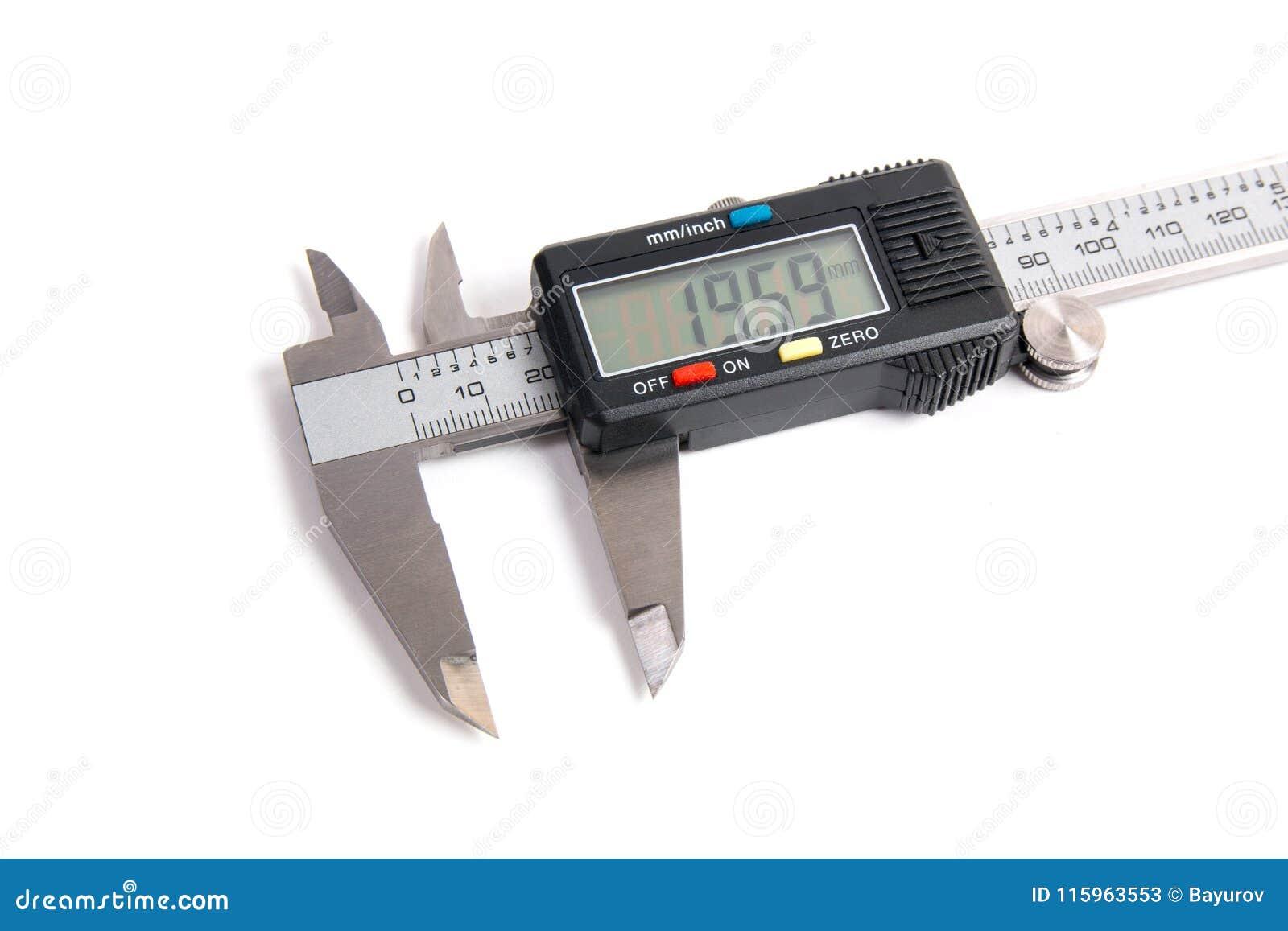 Electronic digital caliper on white background