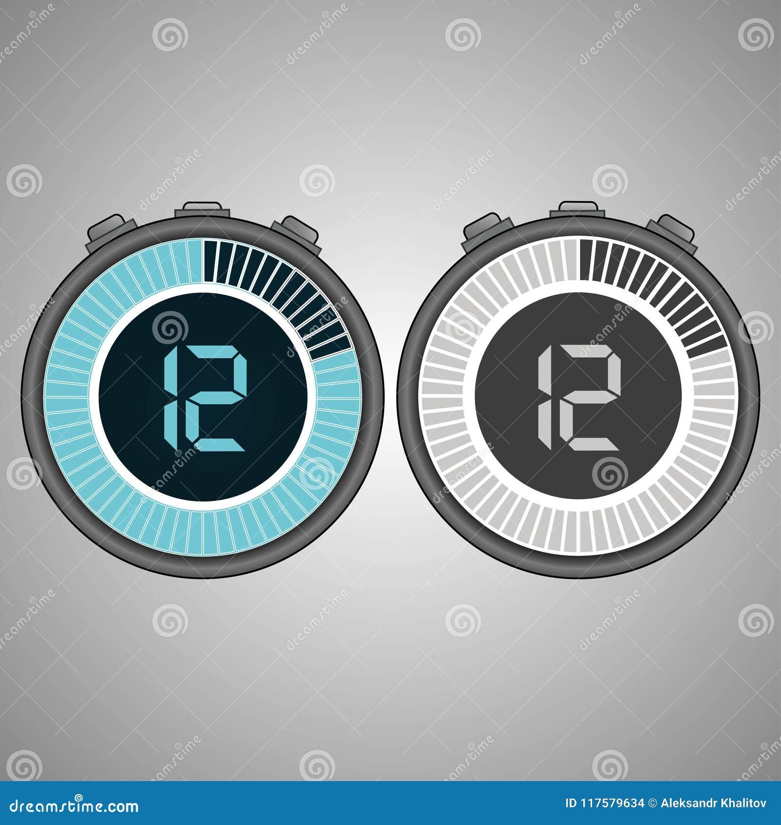 Electronic Digital Stopwatch 12 Seconds Stock Illustration Circuit Design