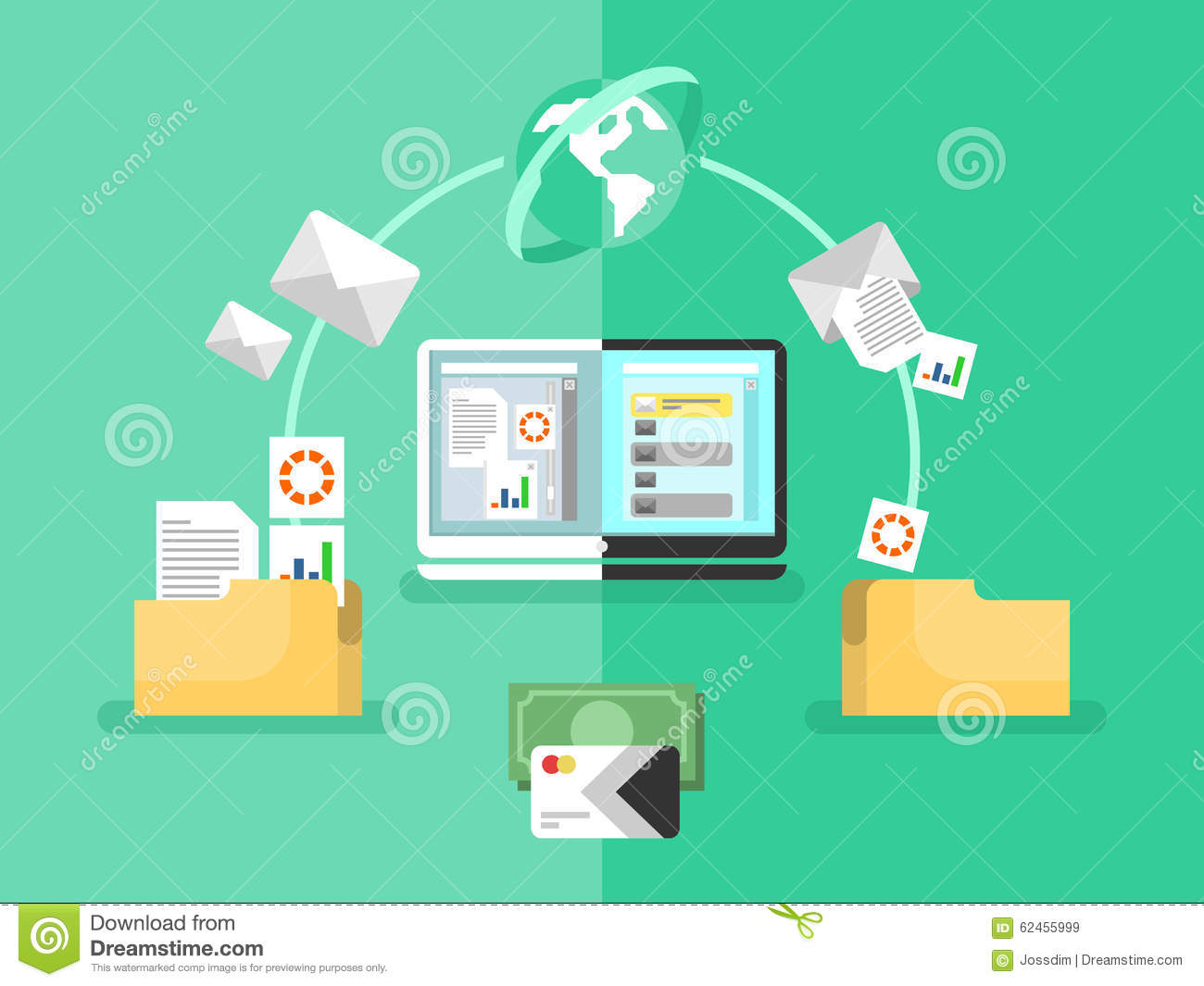 Electronic Document Management Stock Vector Illustration