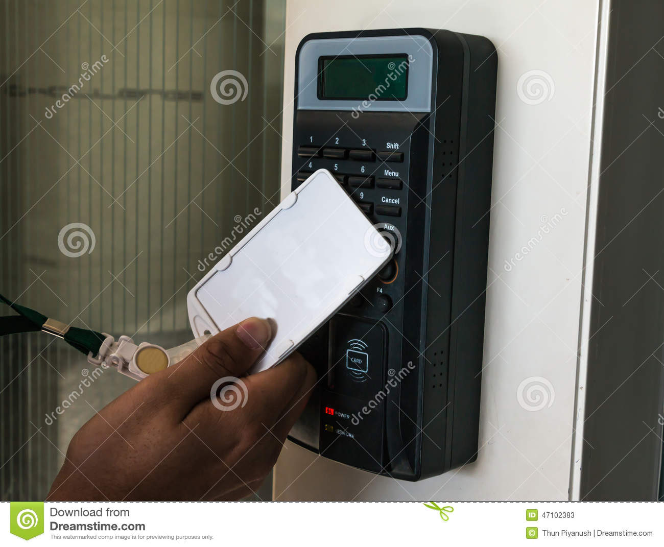 Electronic Door Lock Opening By Security Card Stock Photo