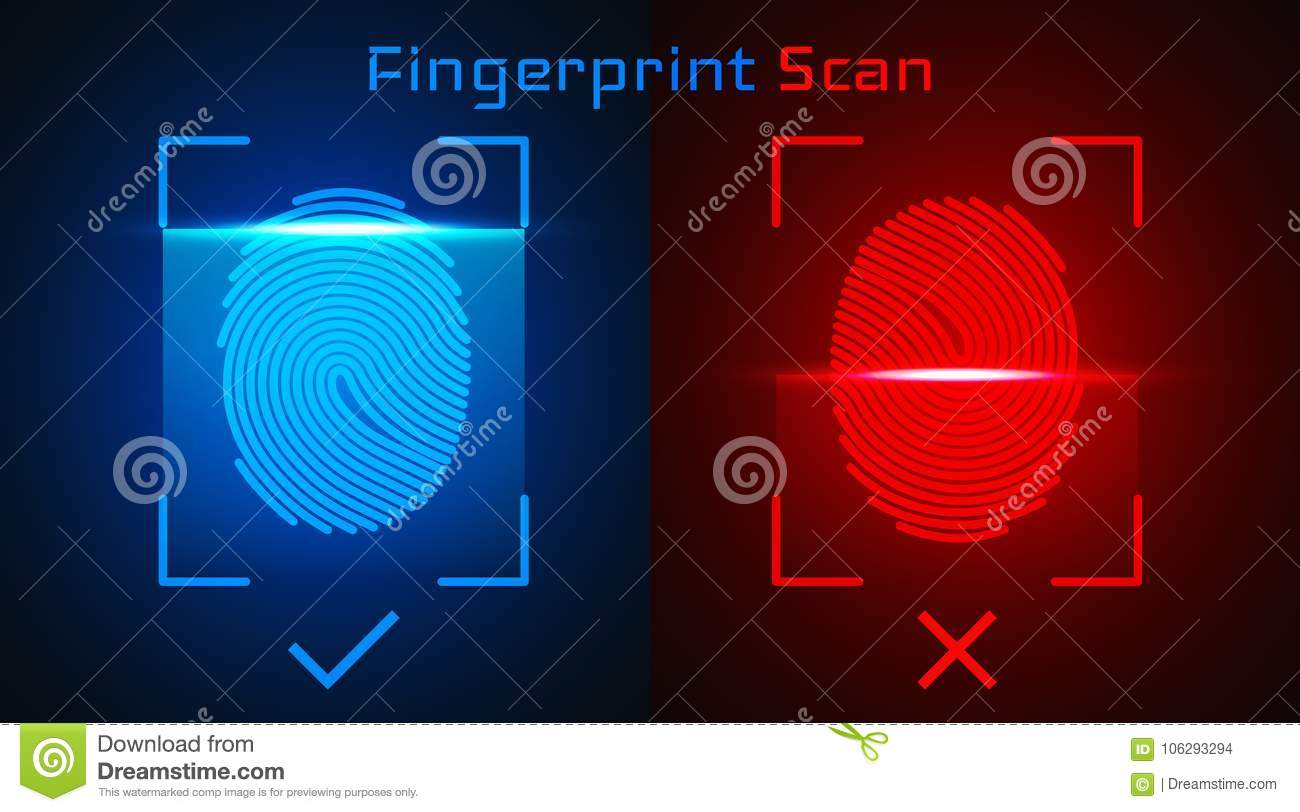 Electronic Fingerprint Scan  Passed And Not Passed Authorization