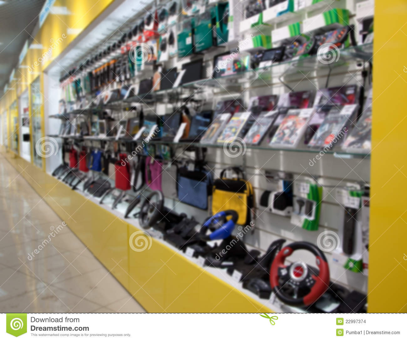 Electronic gadget in store. Blured