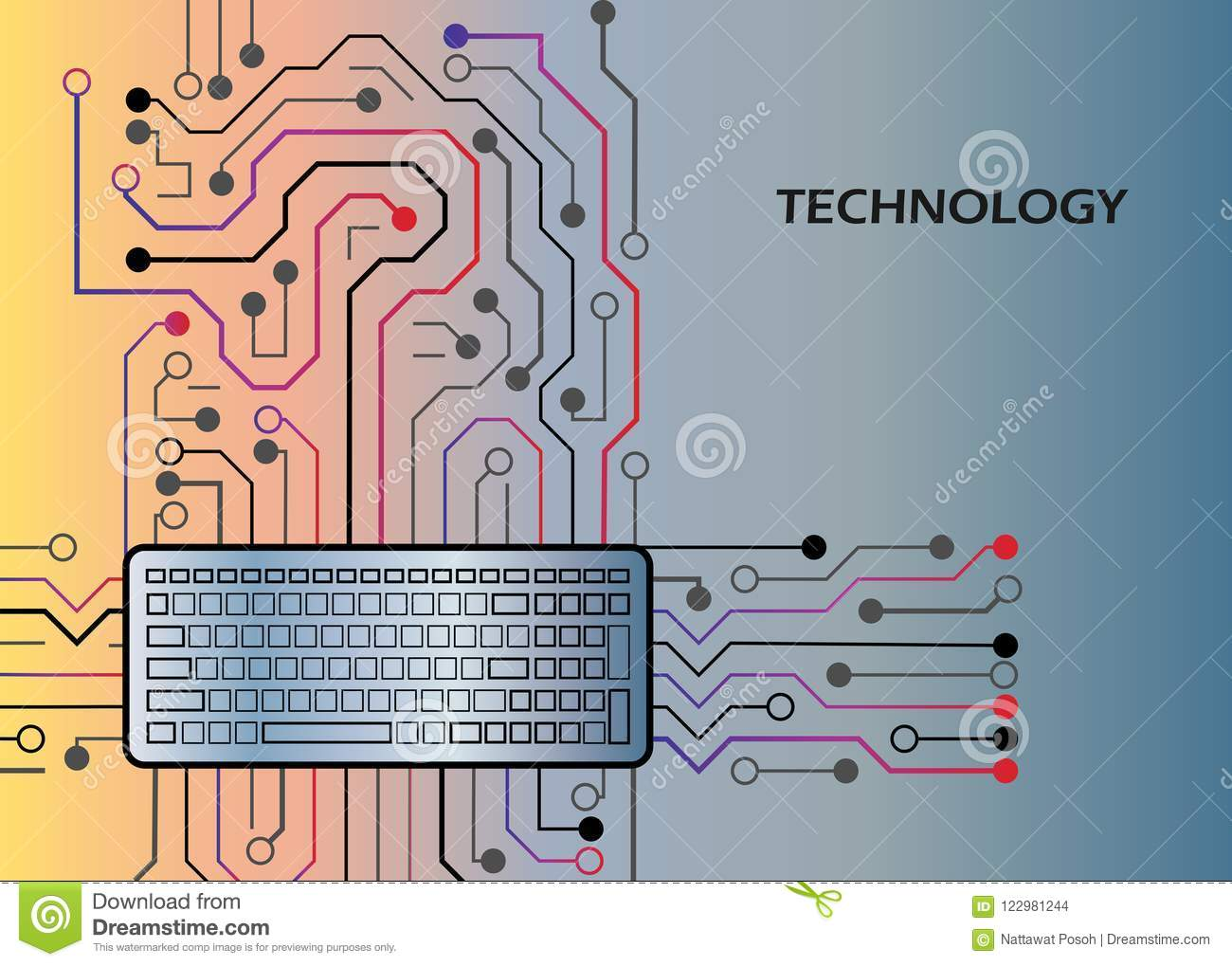 Electronic hardware computer, processor technology circuits board and keyboard vector design