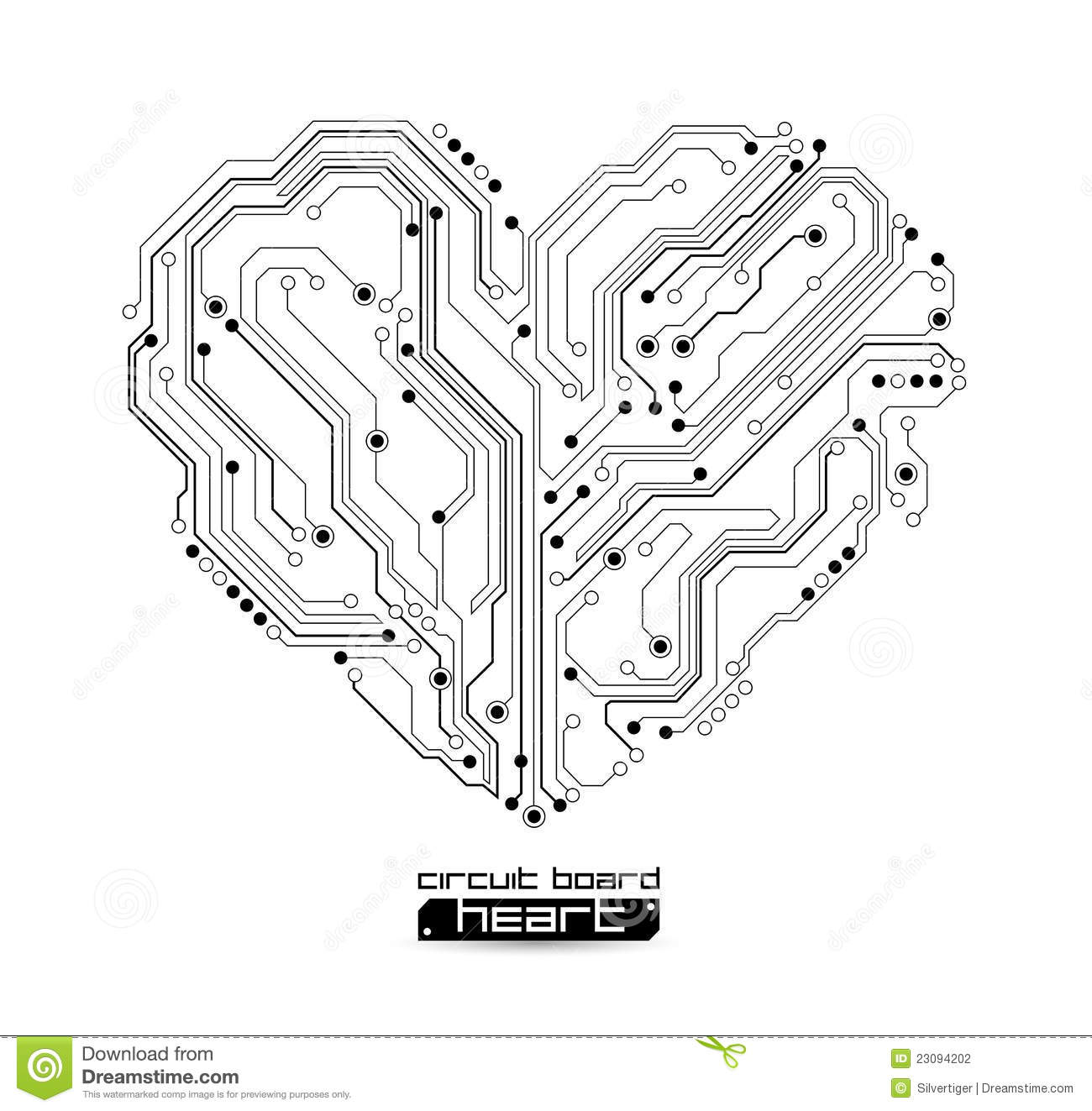 electronic heart technology background stock vector