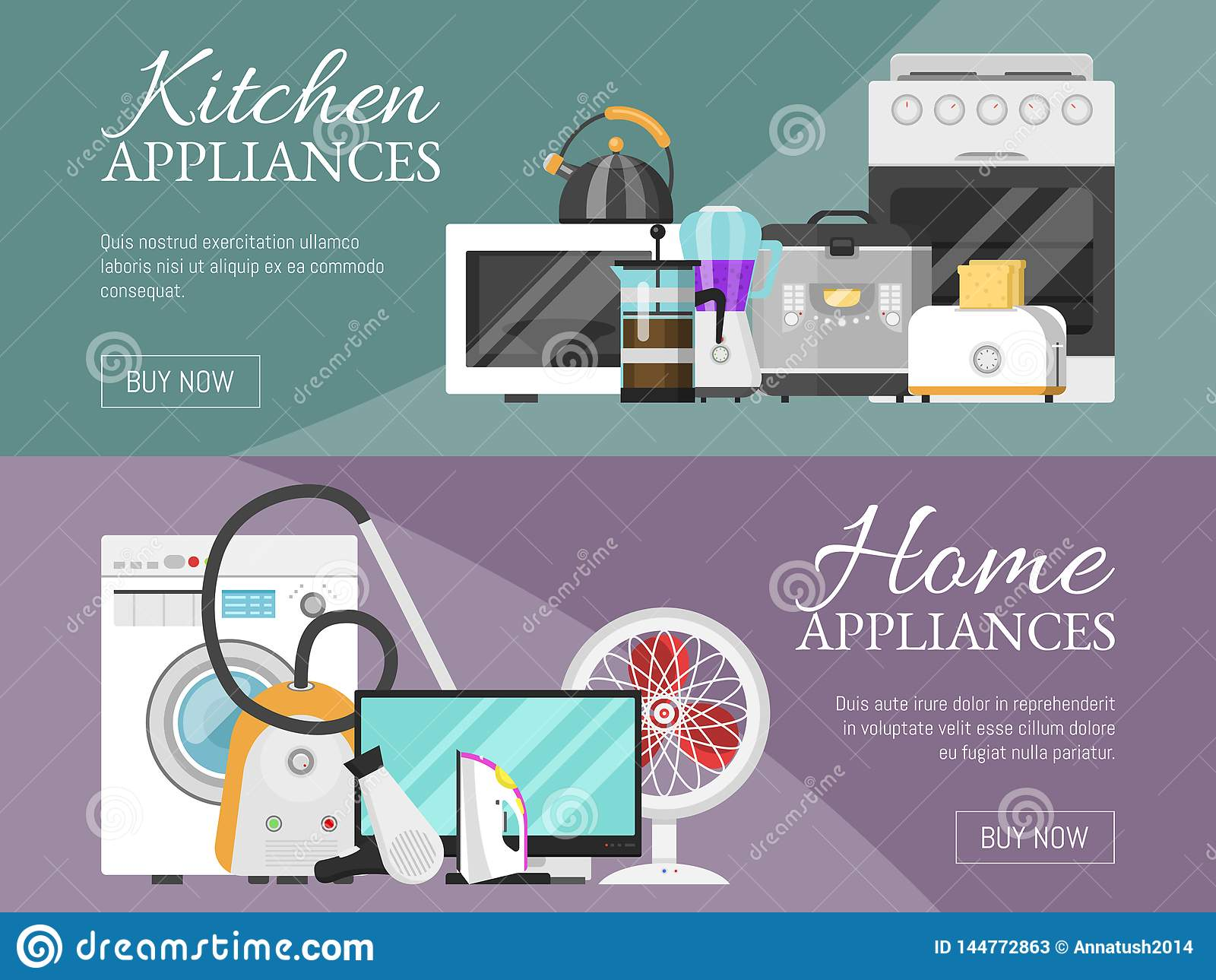 Electronic Household Appliances Banner Vector Illustration