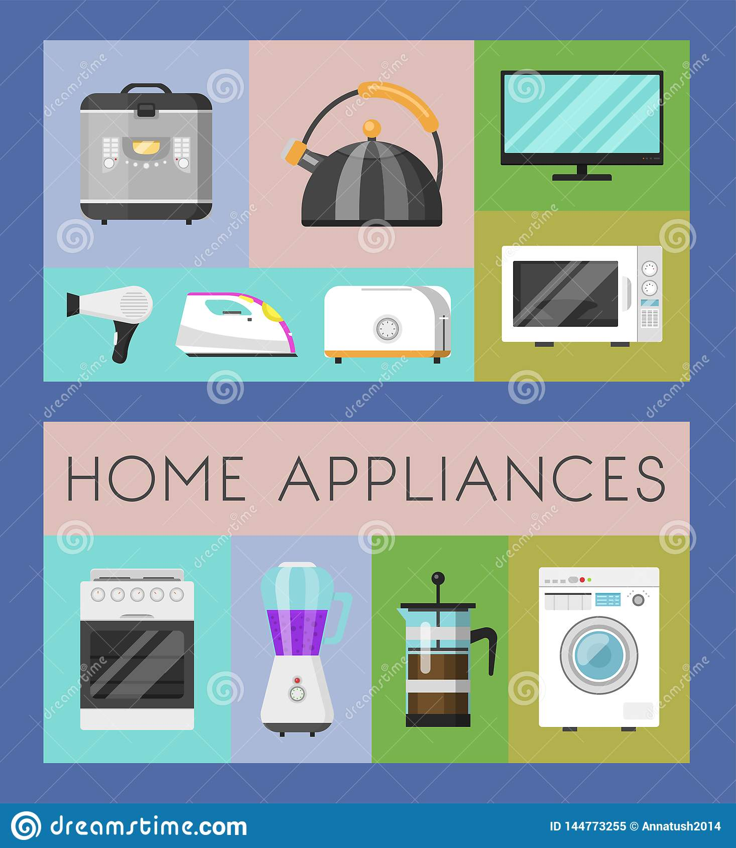 Electronic Household Appliances Set Of Banners Vector