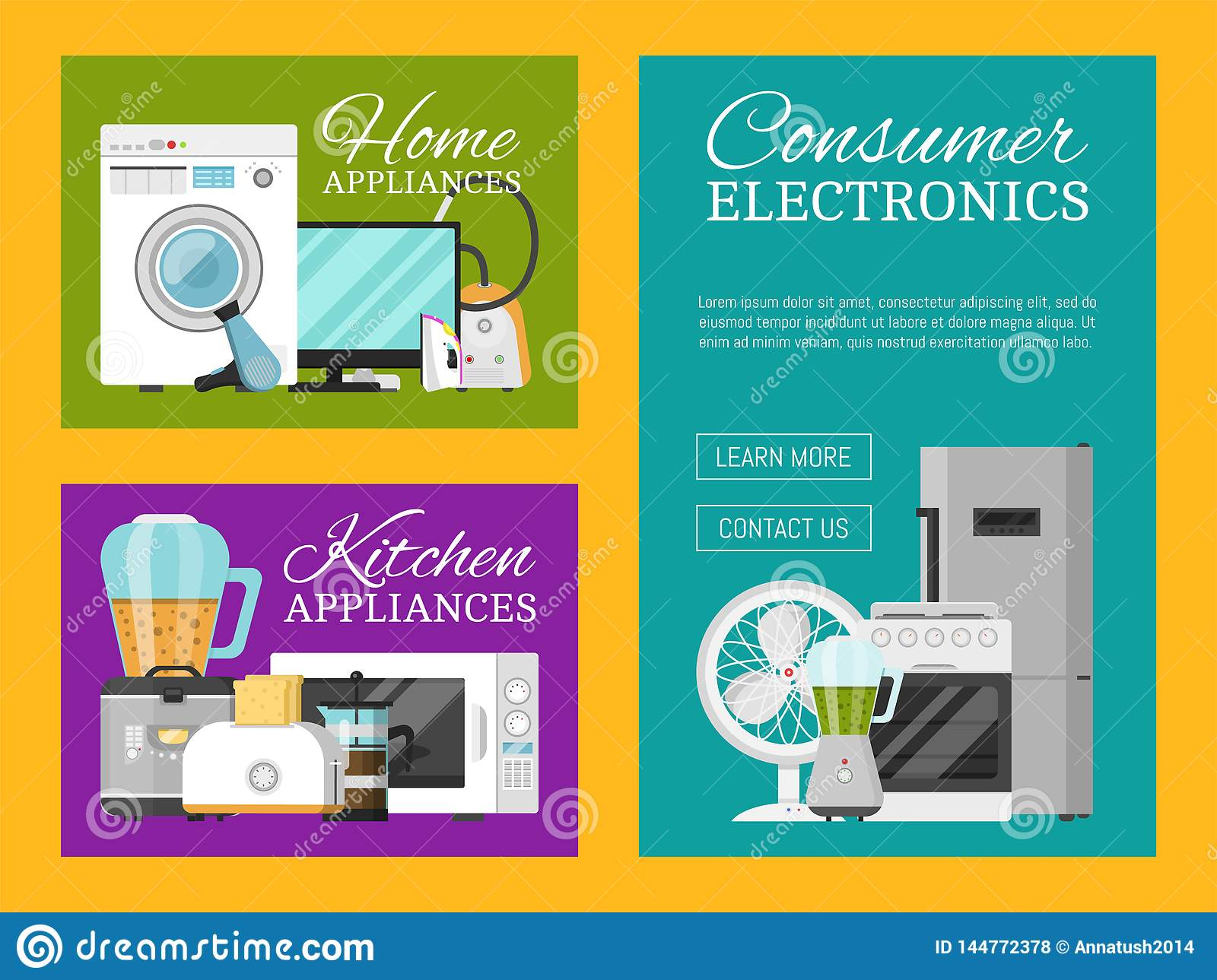 Electronic Household Appliances Set Of Banners Vector Illustration Kitchen And Home Equipment For House Washing Stock Vector Illustration Of Illustration Iron 144772378