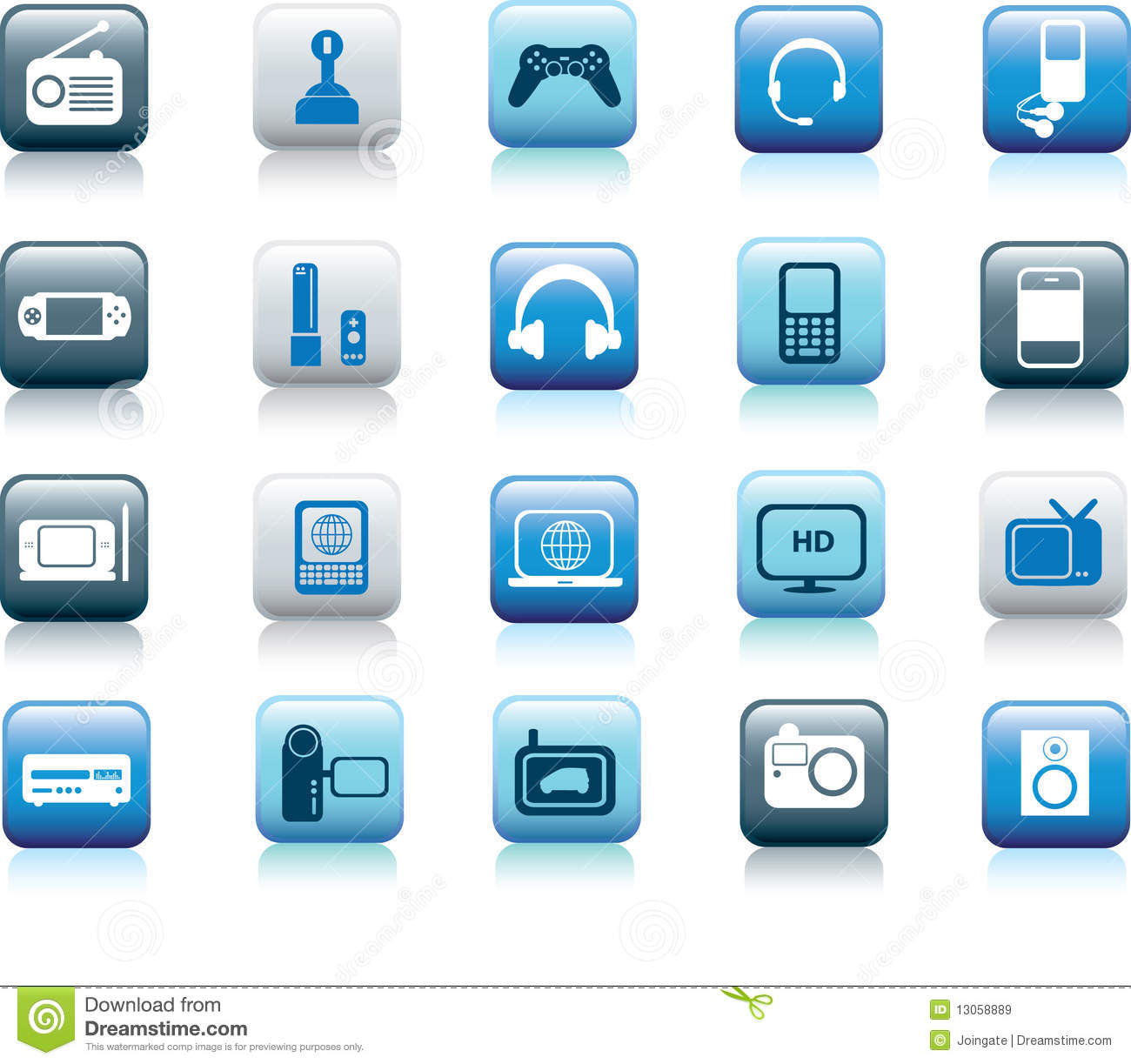 Electronic icon buttons stock vector. Illustration of speaker - 13058889