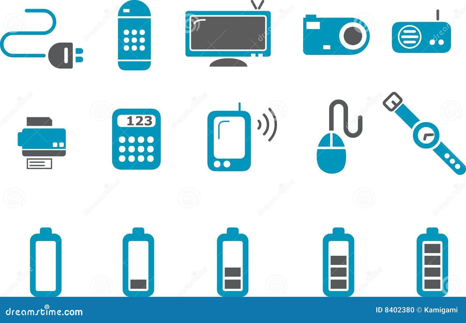 Electronic Icon Set Stock Photo