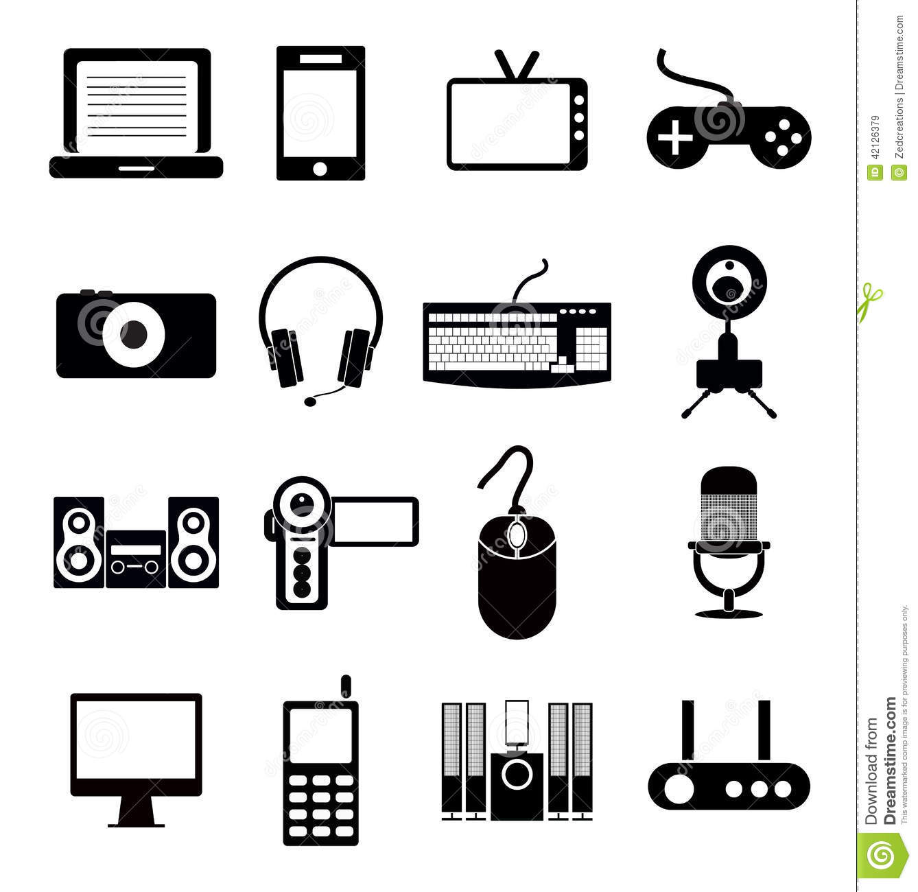 Electronic Icon Set Stock Vector Illustration Of Icons 42126379