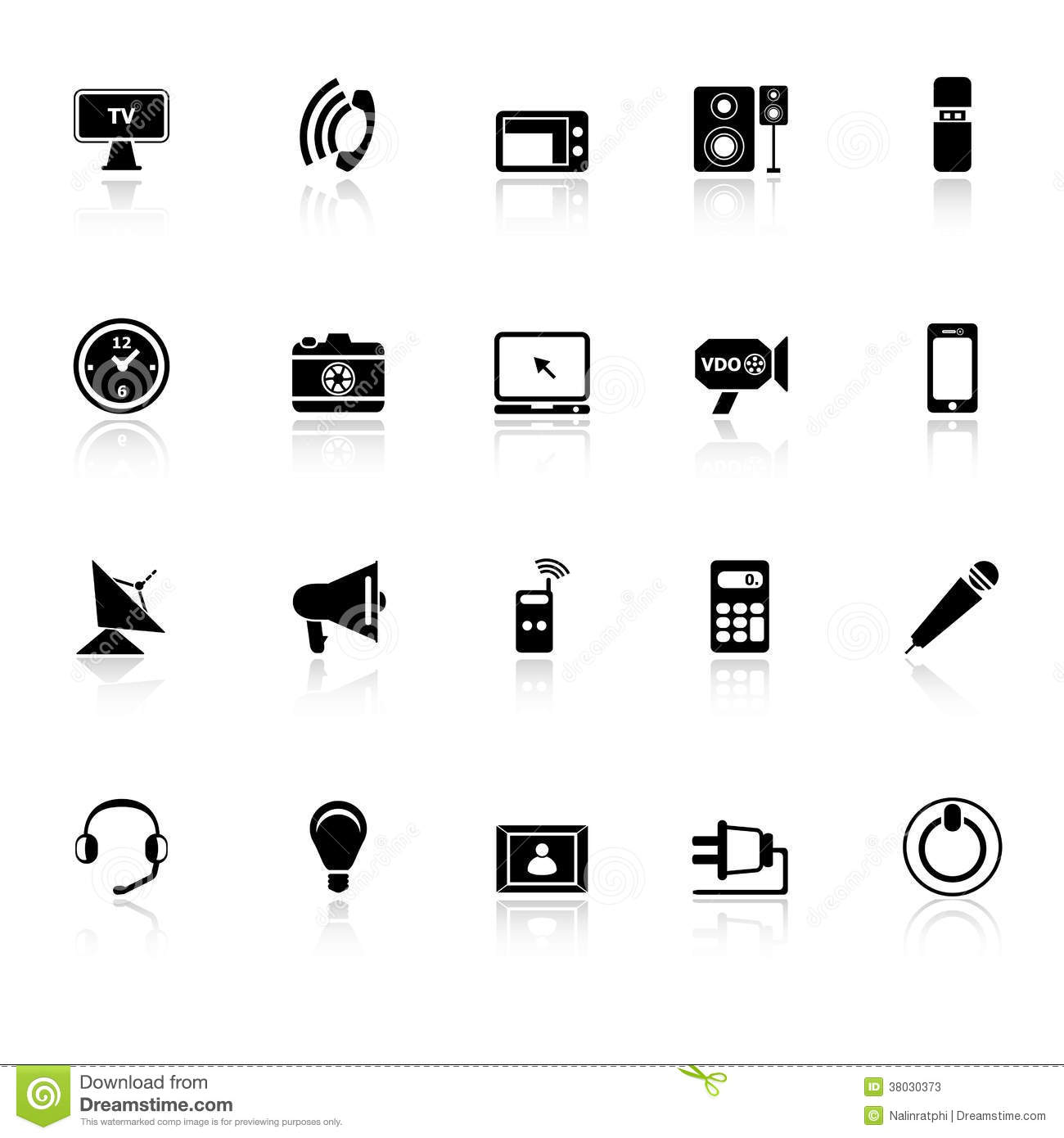 Electronic Icons With Reflect On White Background Stock Vector